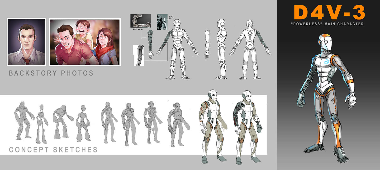 Concept sketches for a man and an android.