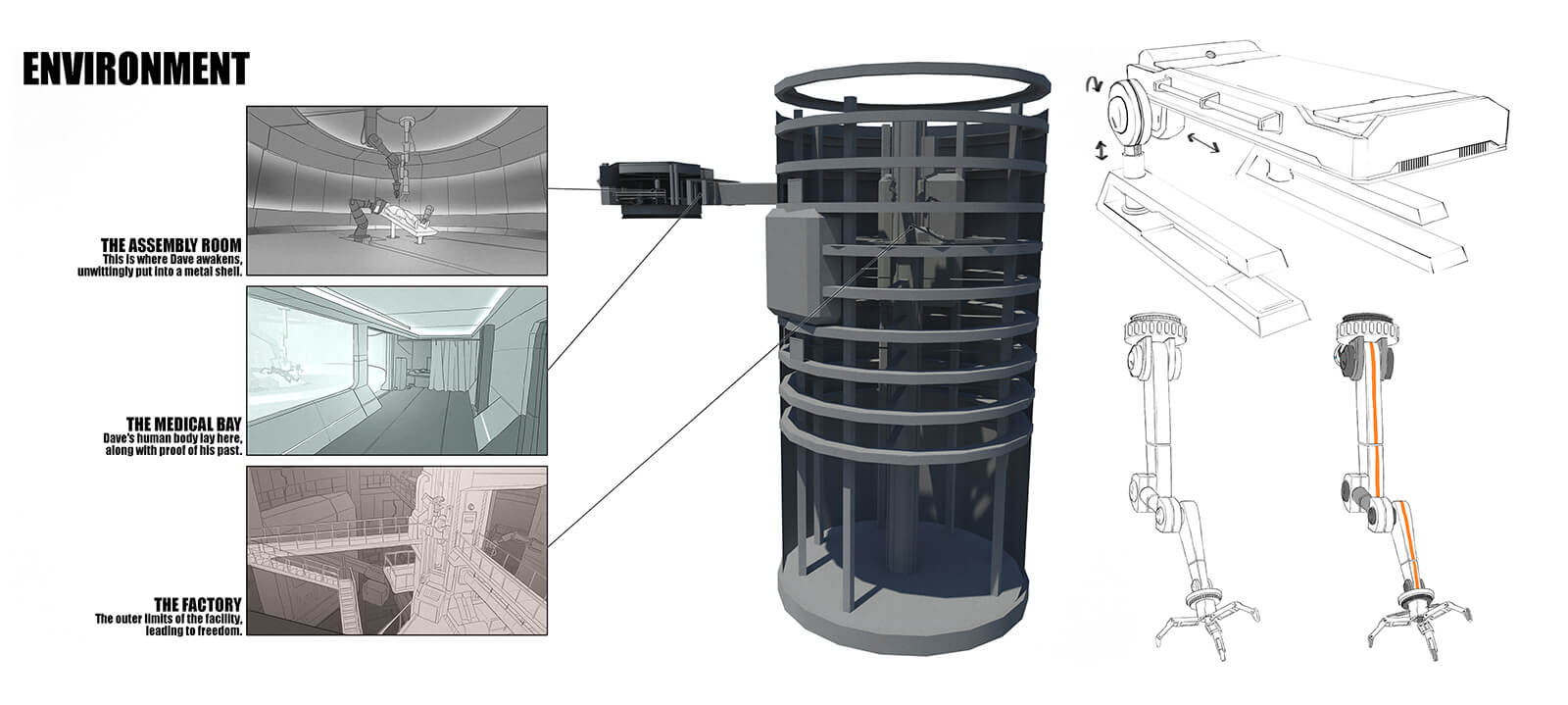 Environmental sketches for a cylindrical industrial facility.