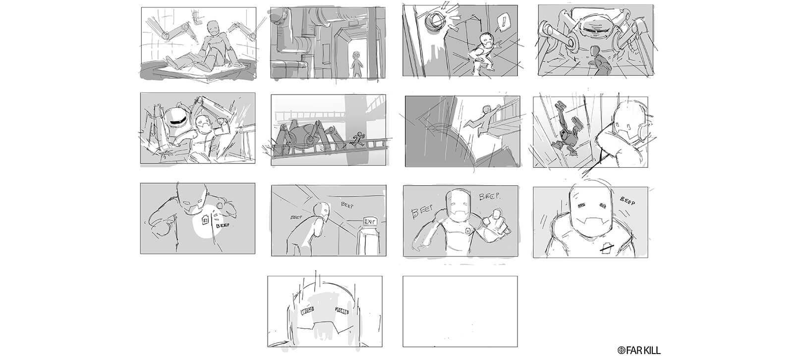 Storyboard sketches of the film Powerless by Far Kill.