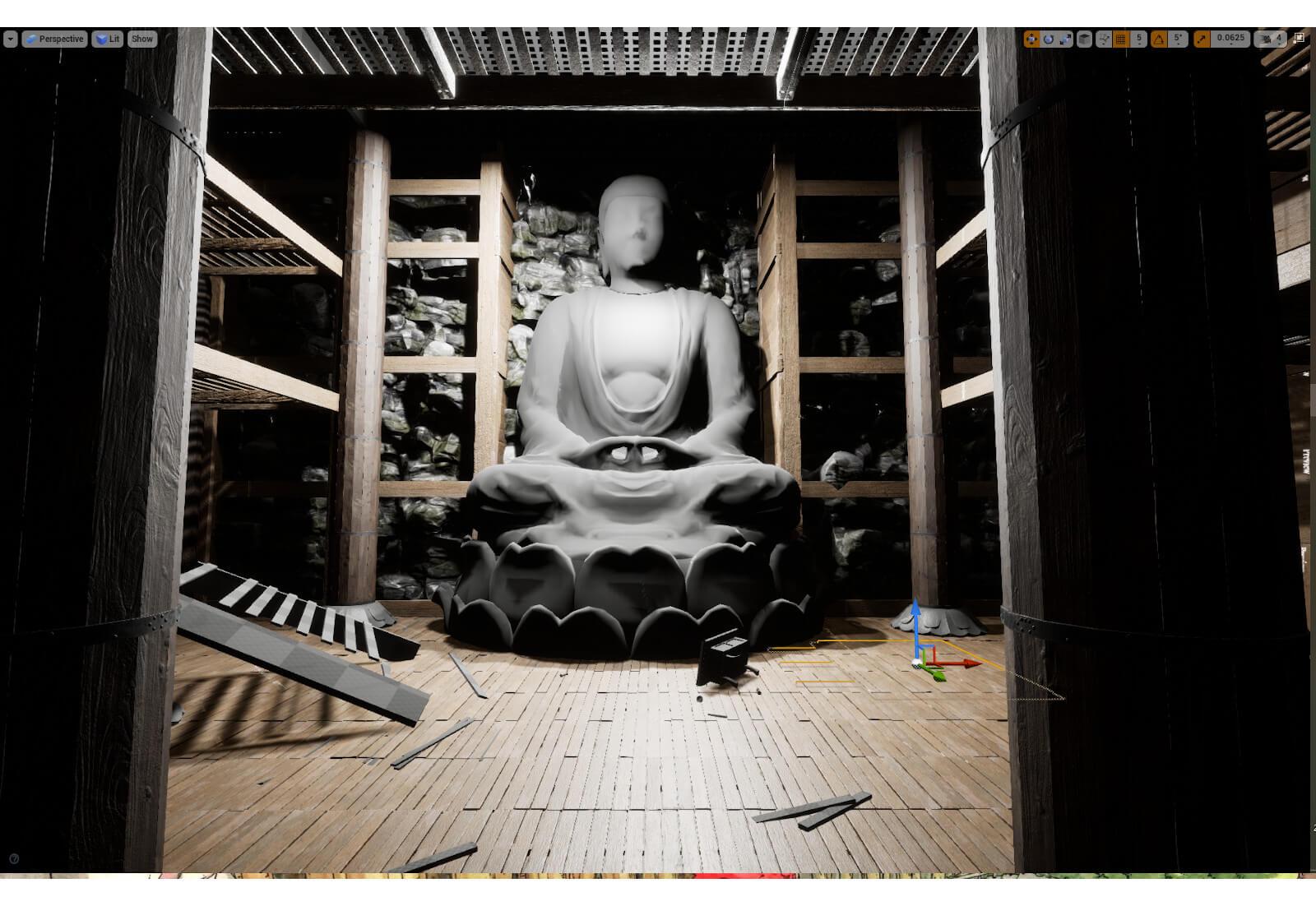 3D temple environment model in progress