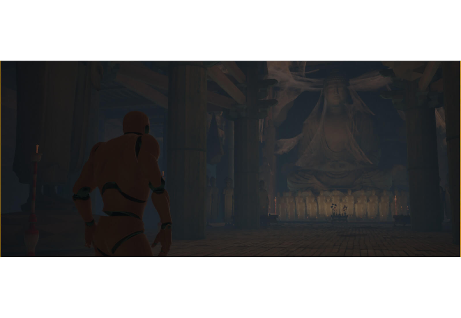 3D temple environment with character model