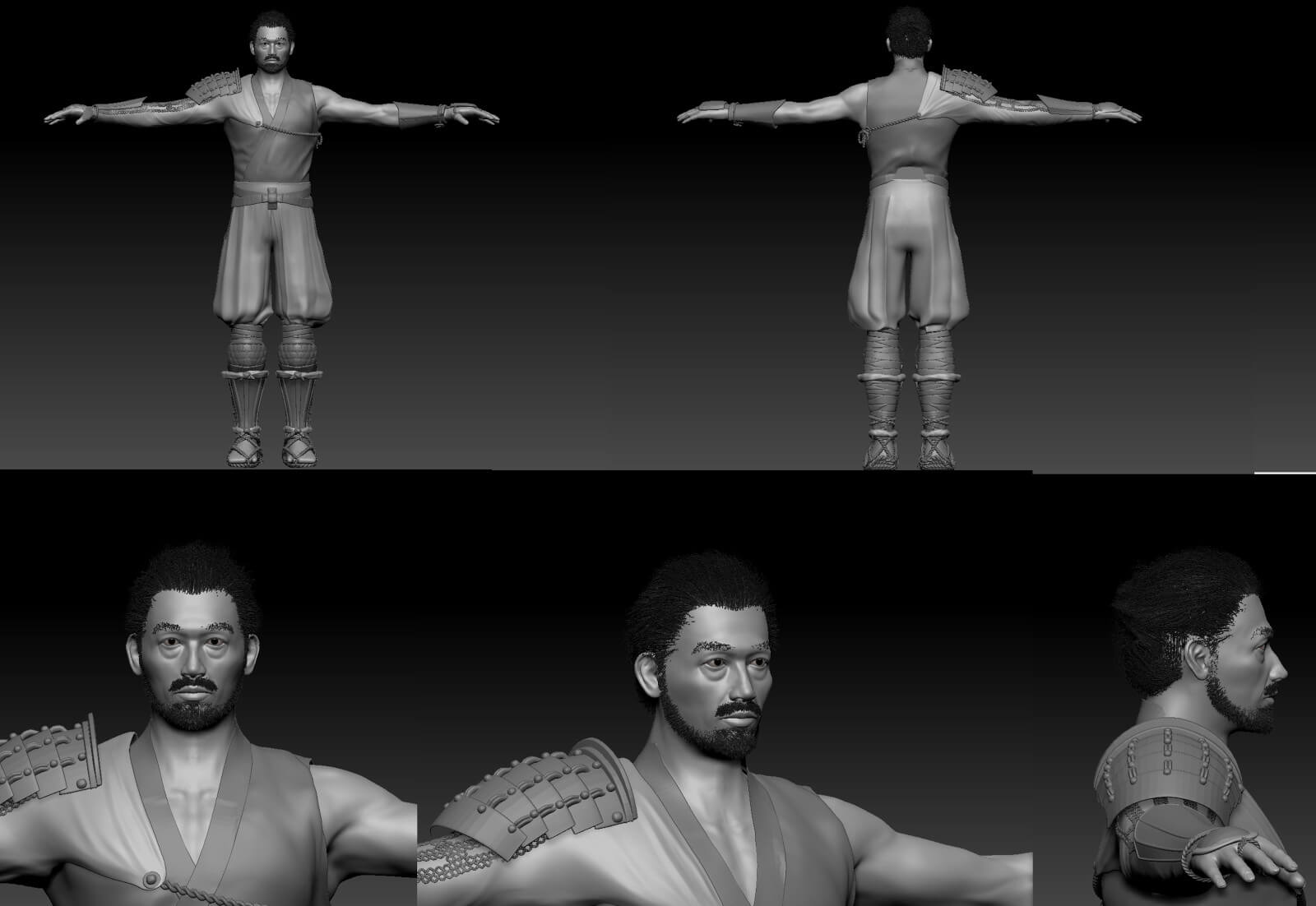 3D character model from different angles