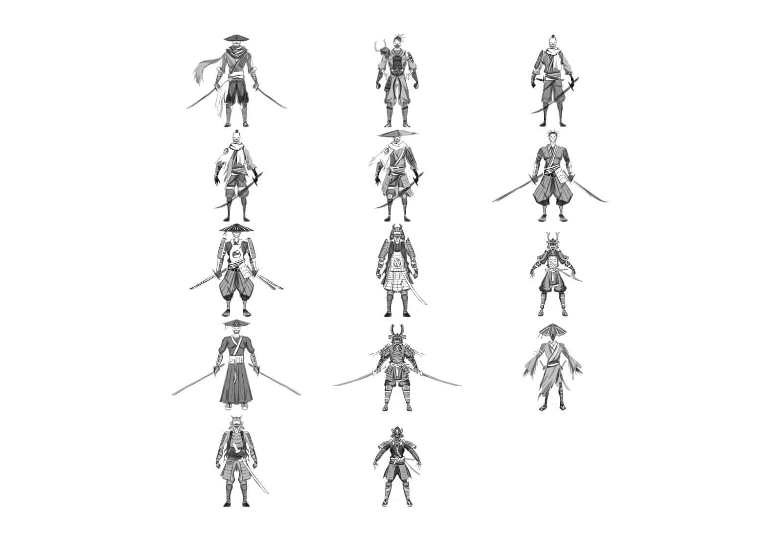Samurai character sketches