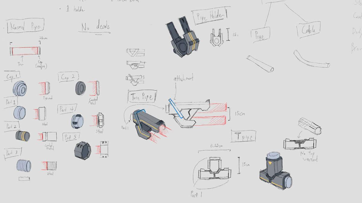 Concept sketches of futuristic laboratory pipes