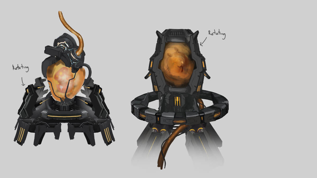 Concept sketches of an alien egg in an incubator