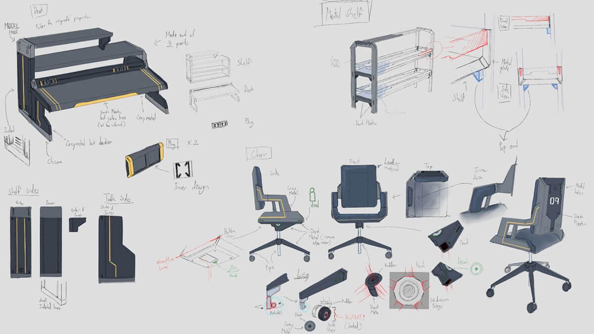 Concept sketches of futuristic laboratory furniture