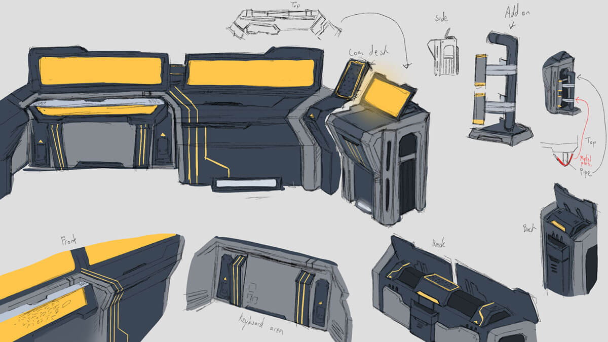 Concept sketches of futuristic laboratory workstations