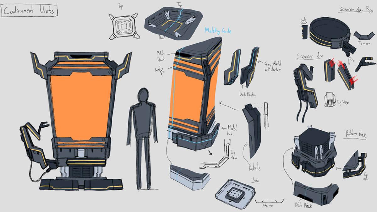 Concept sketches of futuristic laboratory containment units