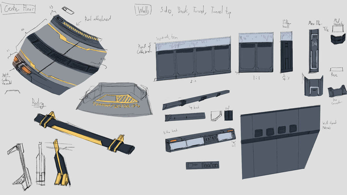 Concept sketches of futuristic laboratory wall and floor panels