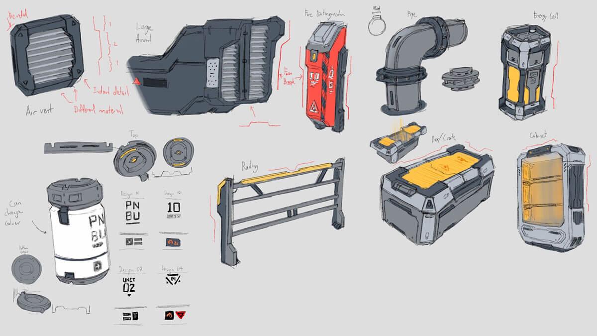 Concept sketches of futuristic laboratory set dressing