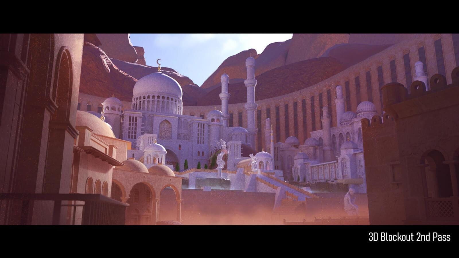 3D temple model block out pass