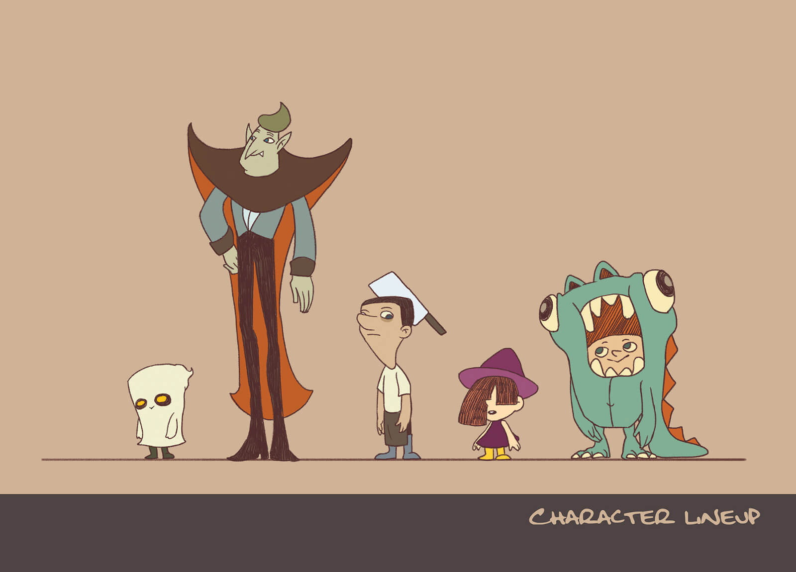 Kids in trick-or-treat costumes and a vampire