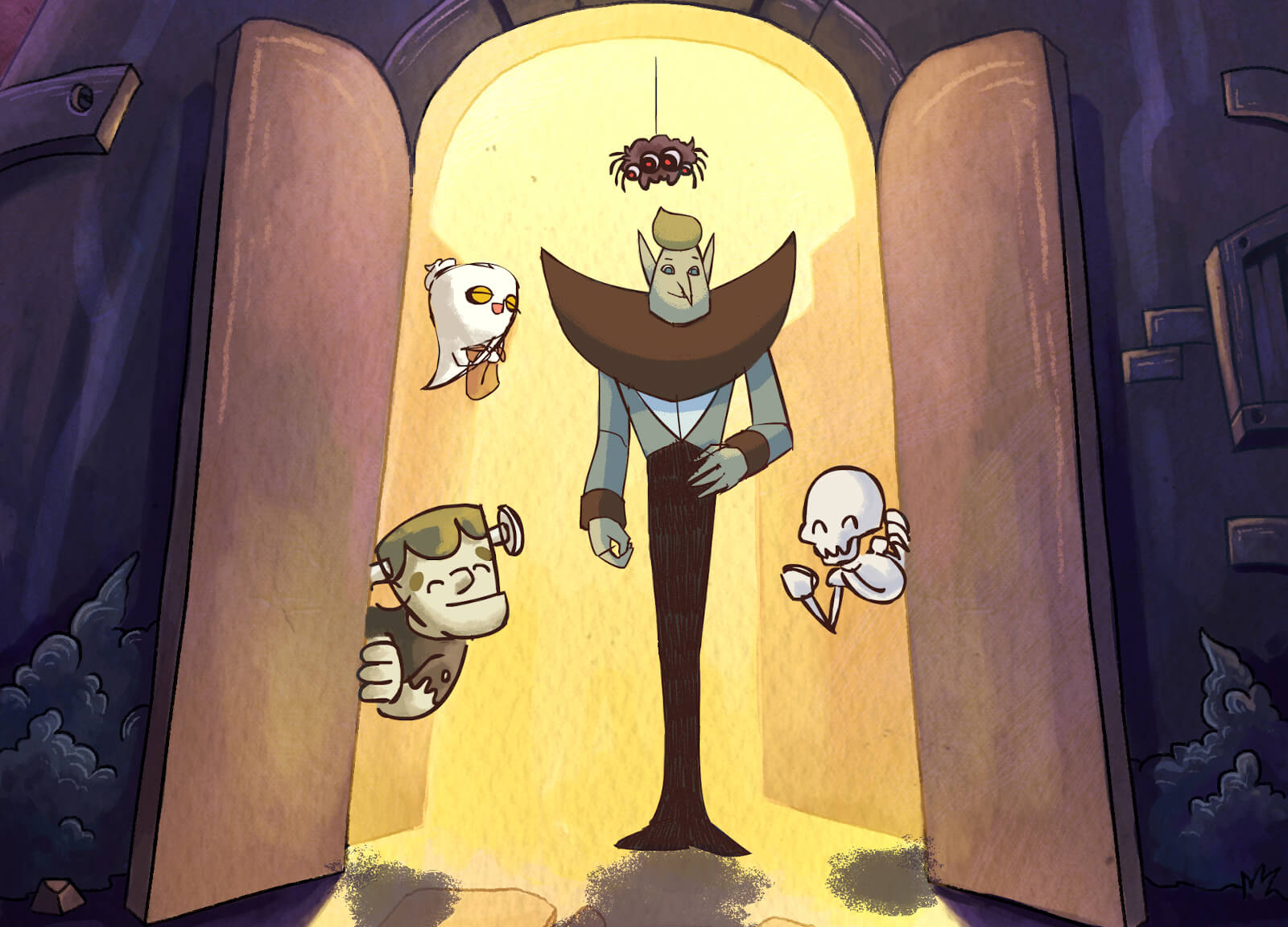 Vampire and some monsters in a doorway