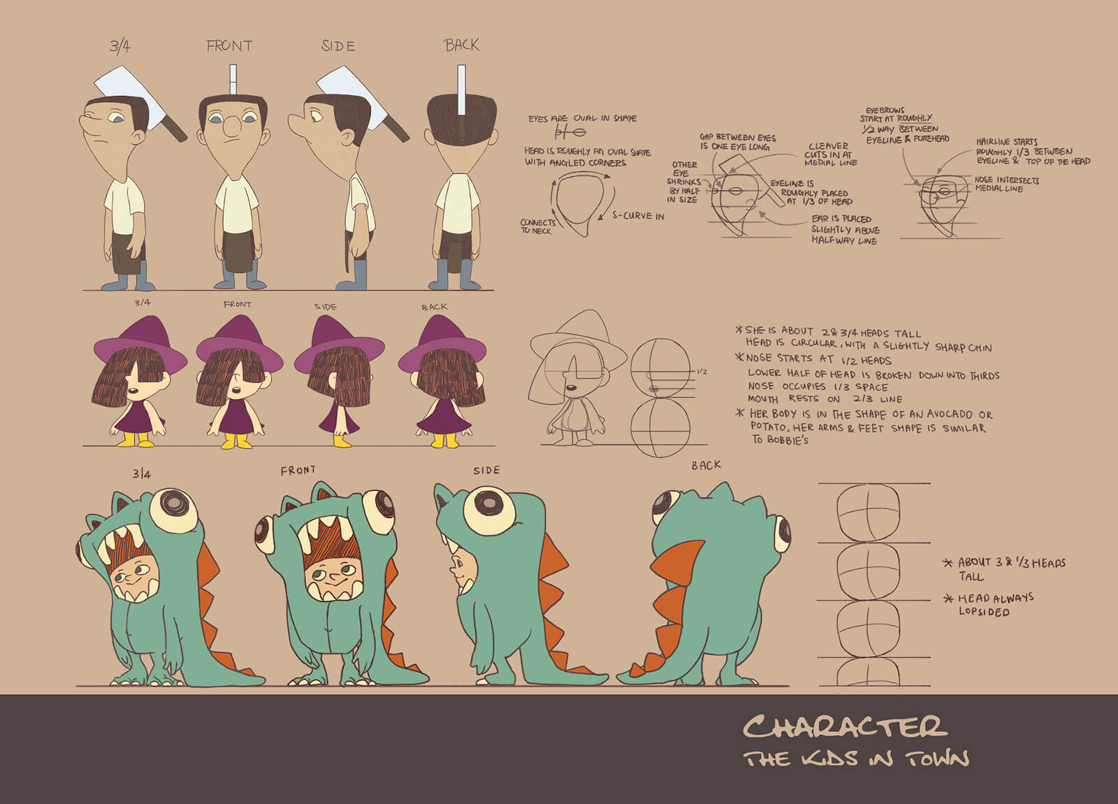 Character art for kids in trick-or-treat costumes