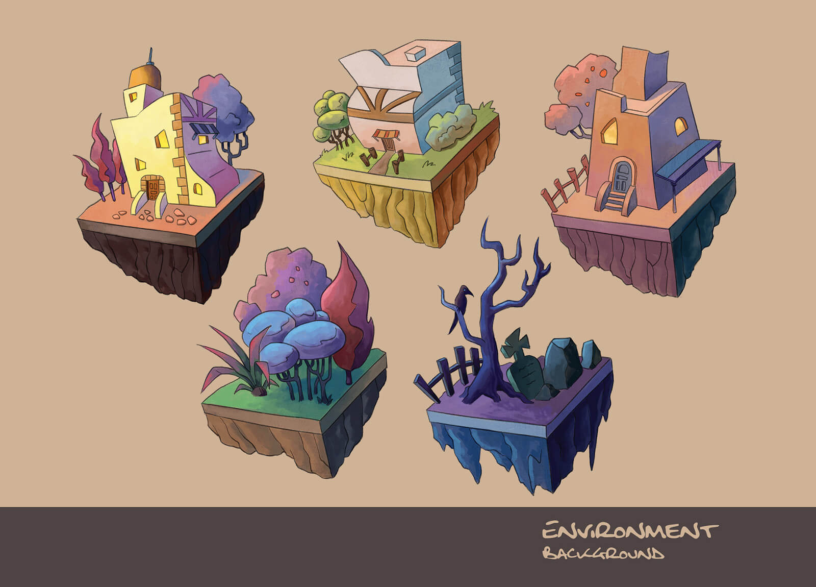 Environment art of buildings and a cemetery