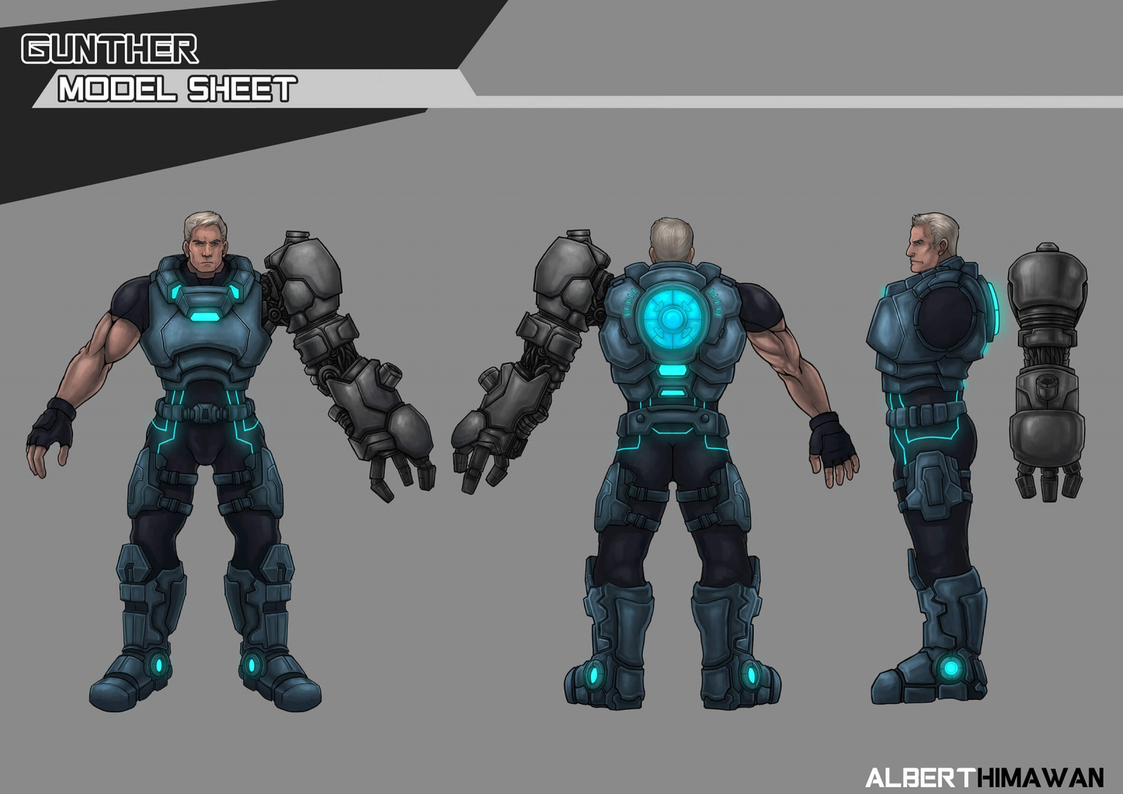 Turnaround character model sheet of a man in a futuristic, blue-metal suit with a bulky robotic left arm attachment.