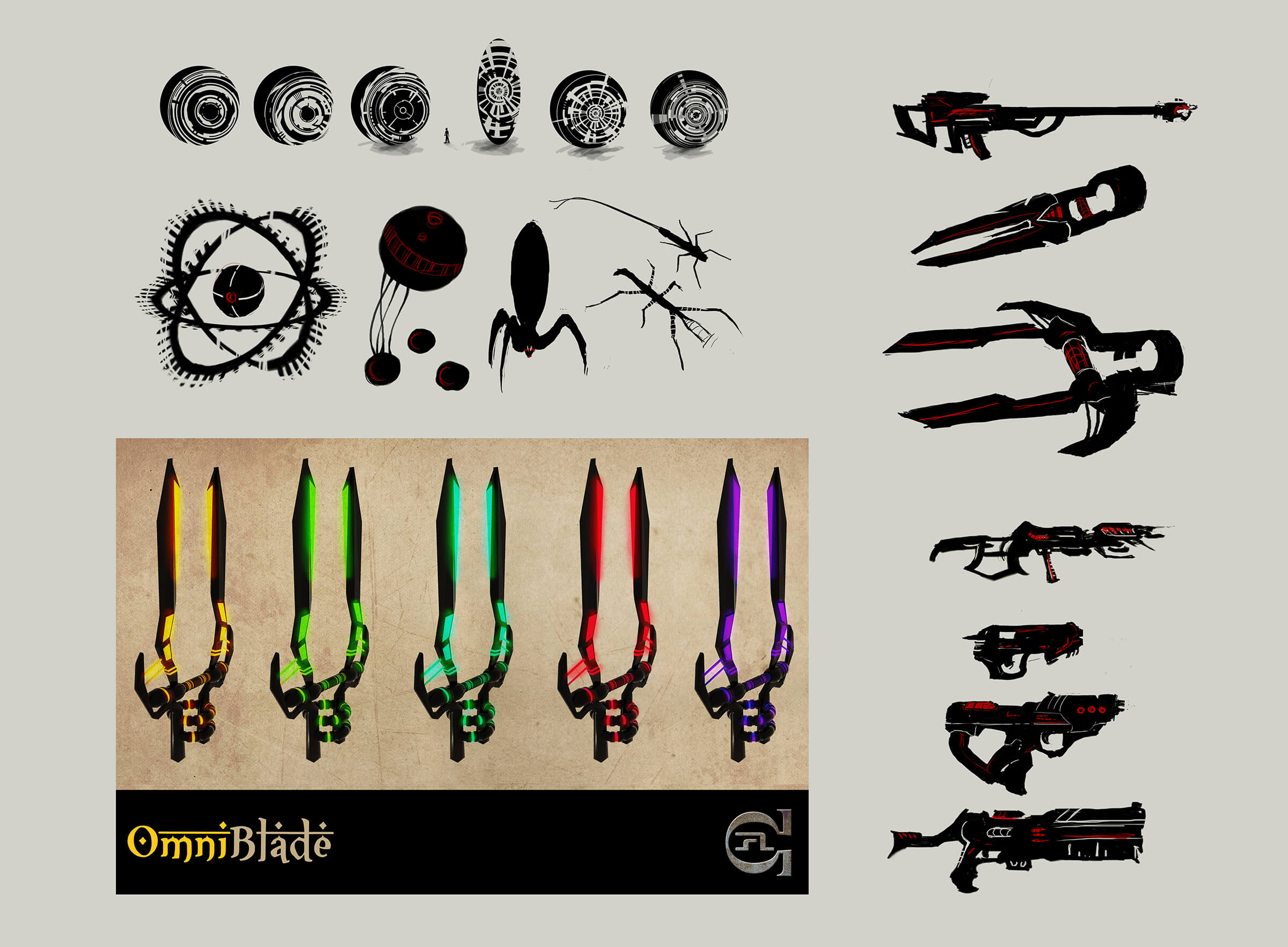 "Sketches of various futuristic tools and implements including pistols, rifles, and ""OmniBlades"" of various colors."
