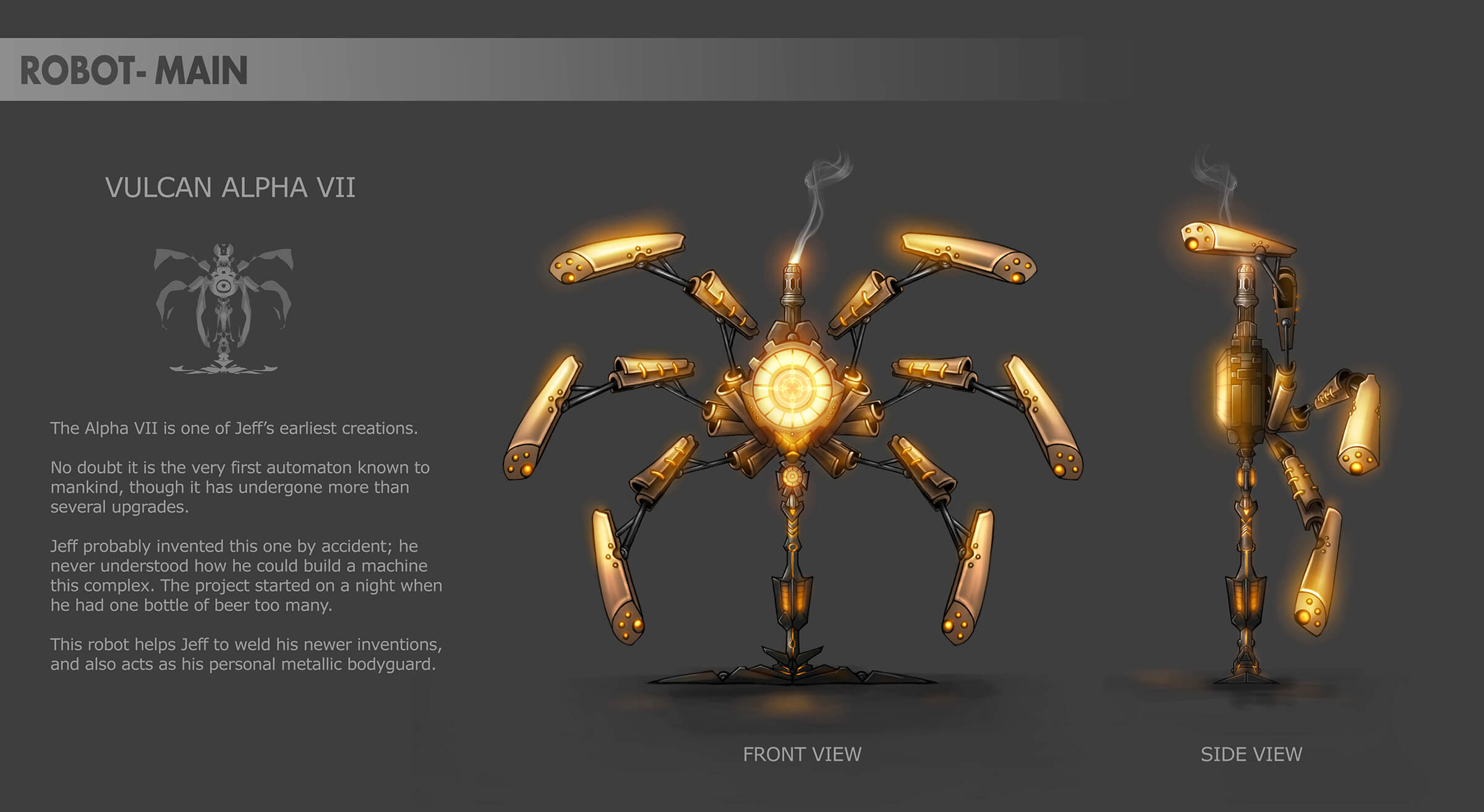 "Concept art of a multi-legged golden robot resembling an upright spider, along with name ""Vulcan Alpha VII"" and description."