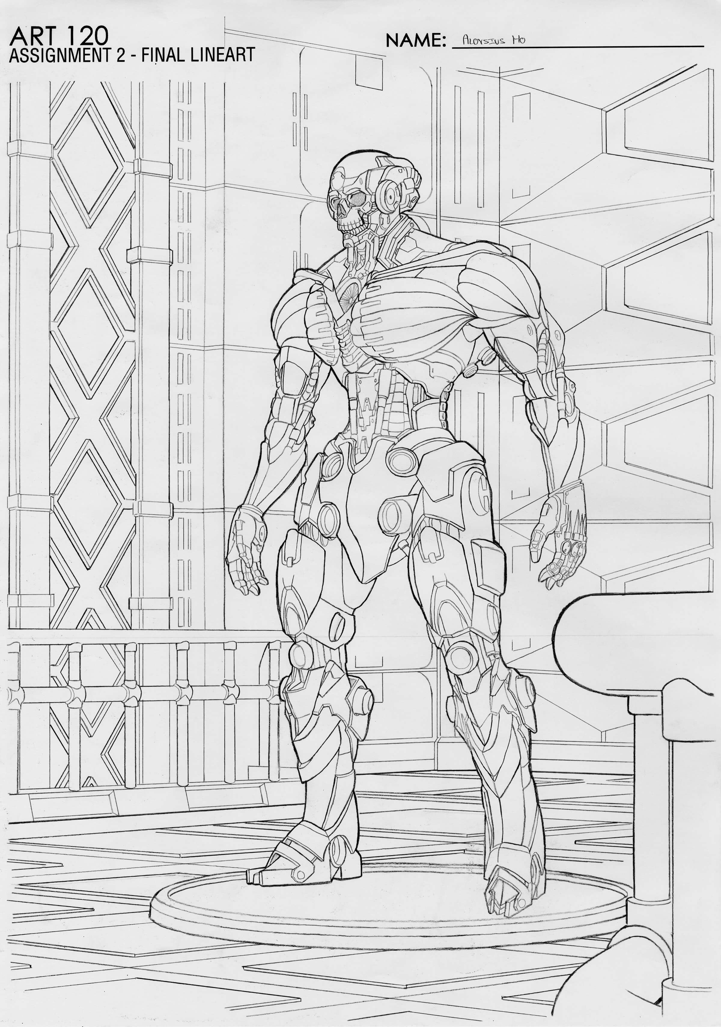 Black-and-white sketch of a standing robot with an exposed human-like skull.
