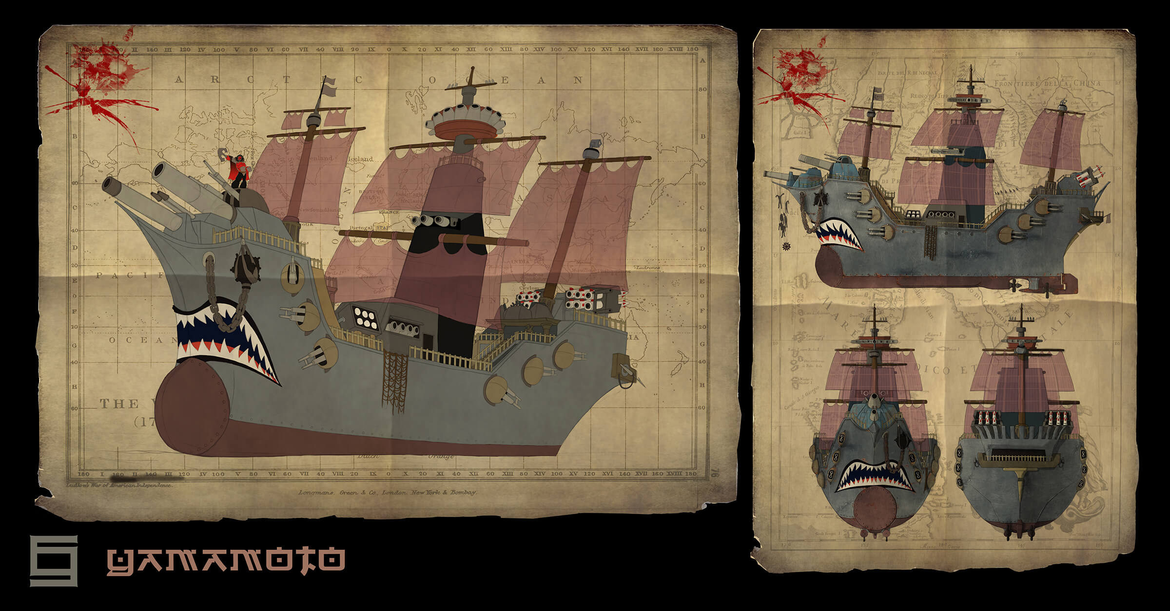 Concept art turnaround of a stylized battleship wielding modern guns and armor, with sails and hull of an older-style vessel.