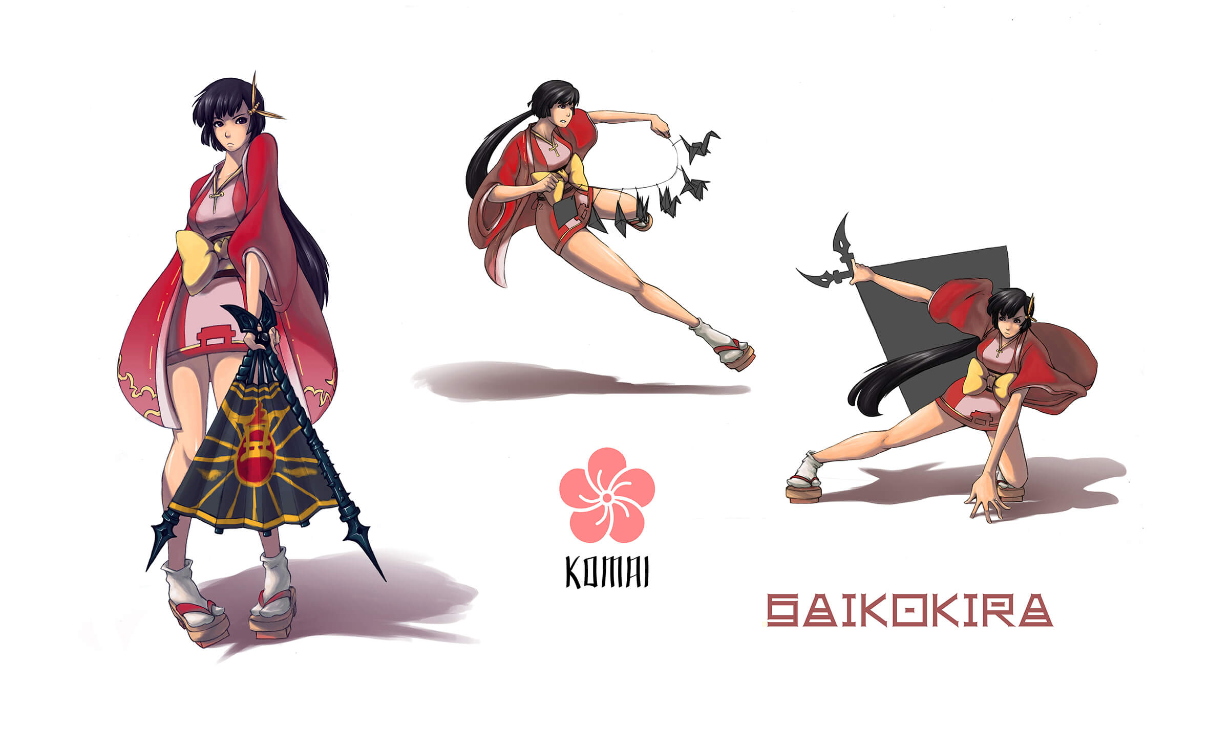 Concept art of a warrior named Komai in red traditional Japanese wear in various poses including a black war fan.