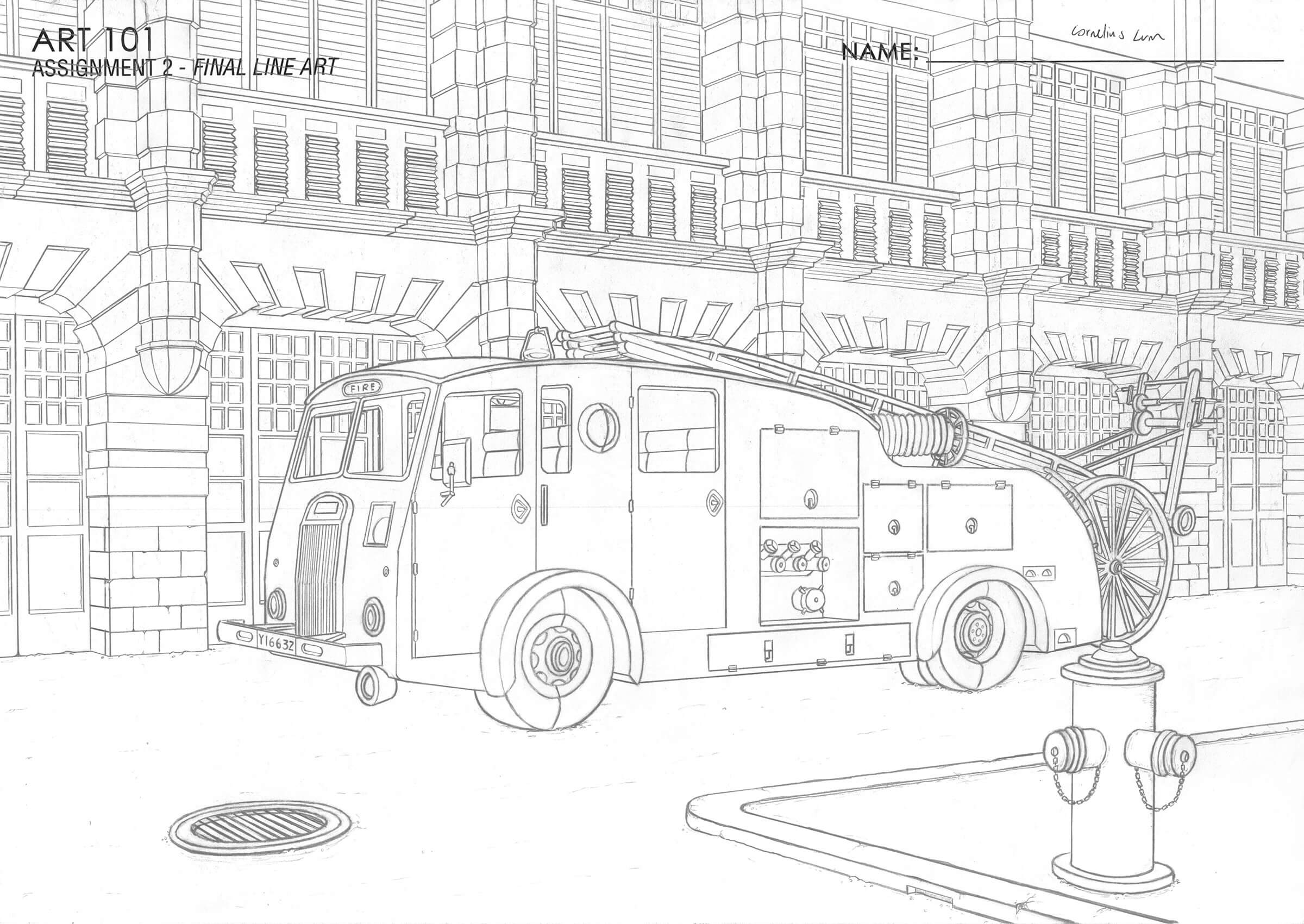 Black-and-white sketch of a fire engine next to a building.