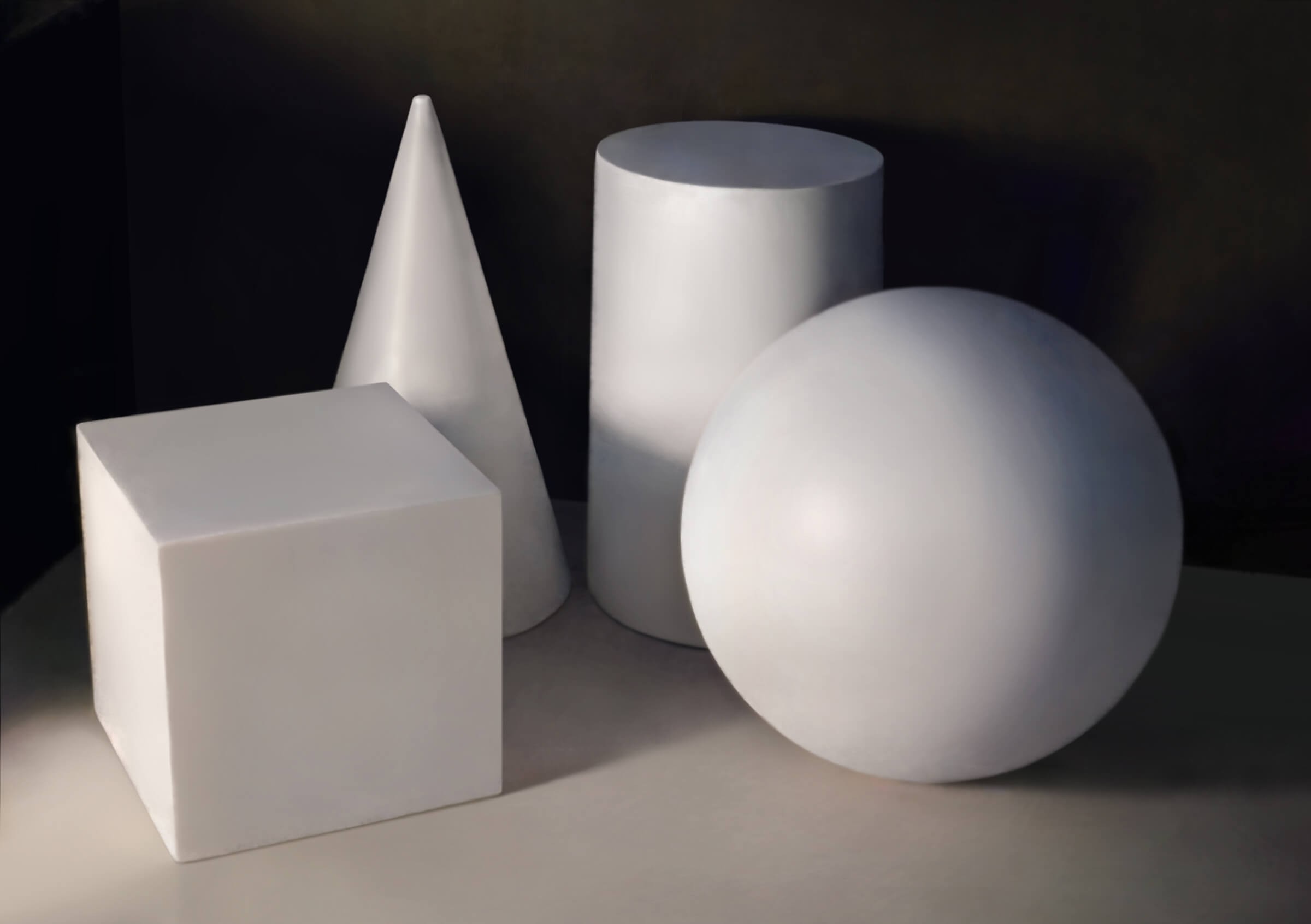 A still life digital painting of plain white shapes (a cube, sphere, cylinder, and cone) lit from the left.