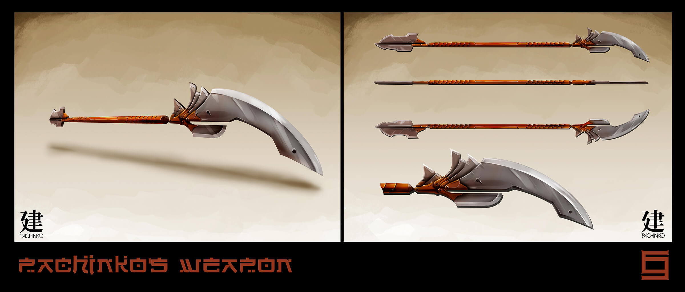 Concept art of a long weapon, bladed at both ends of its orange shaft, seen from different angles