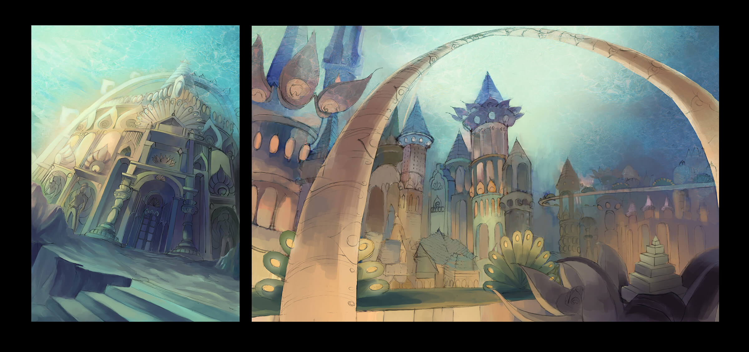 Two views of an underwater city colored in muted pastel tones, full of towers, arches, and massive, ornate buildings.