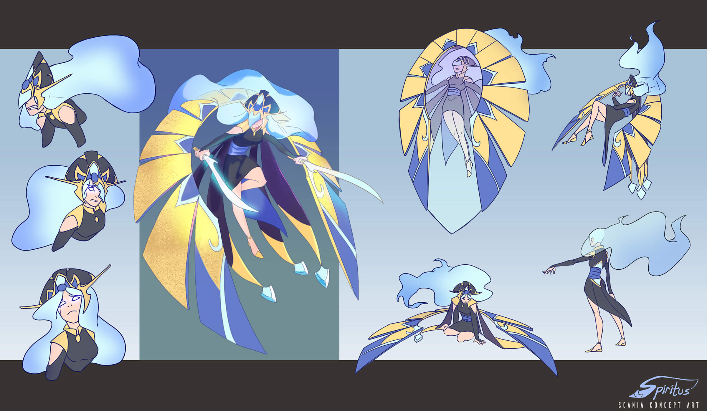 Concept art of an angelic warrior with wispy white hair, in a black tunic draped by gold and blue wings in various poses.