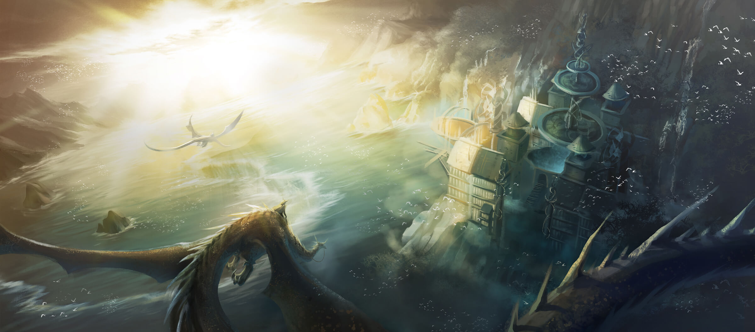 Dragons and their riders fly above a mystical castle on a rocky shore. A diffuse sun lights the scene from a distance.