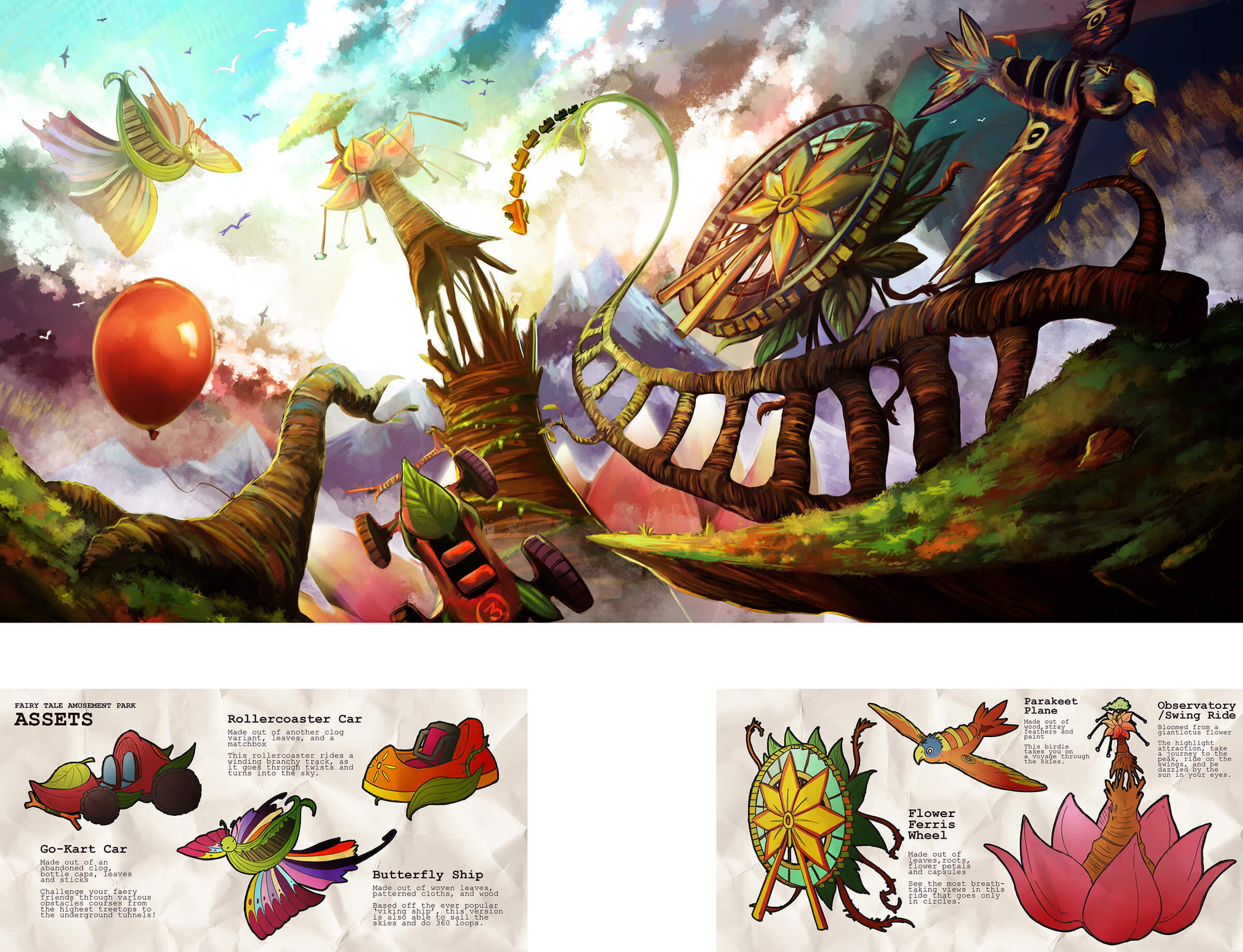 Colorful concept art for the rides in an organic theme park with attractions seemingly built out of living plants and animals