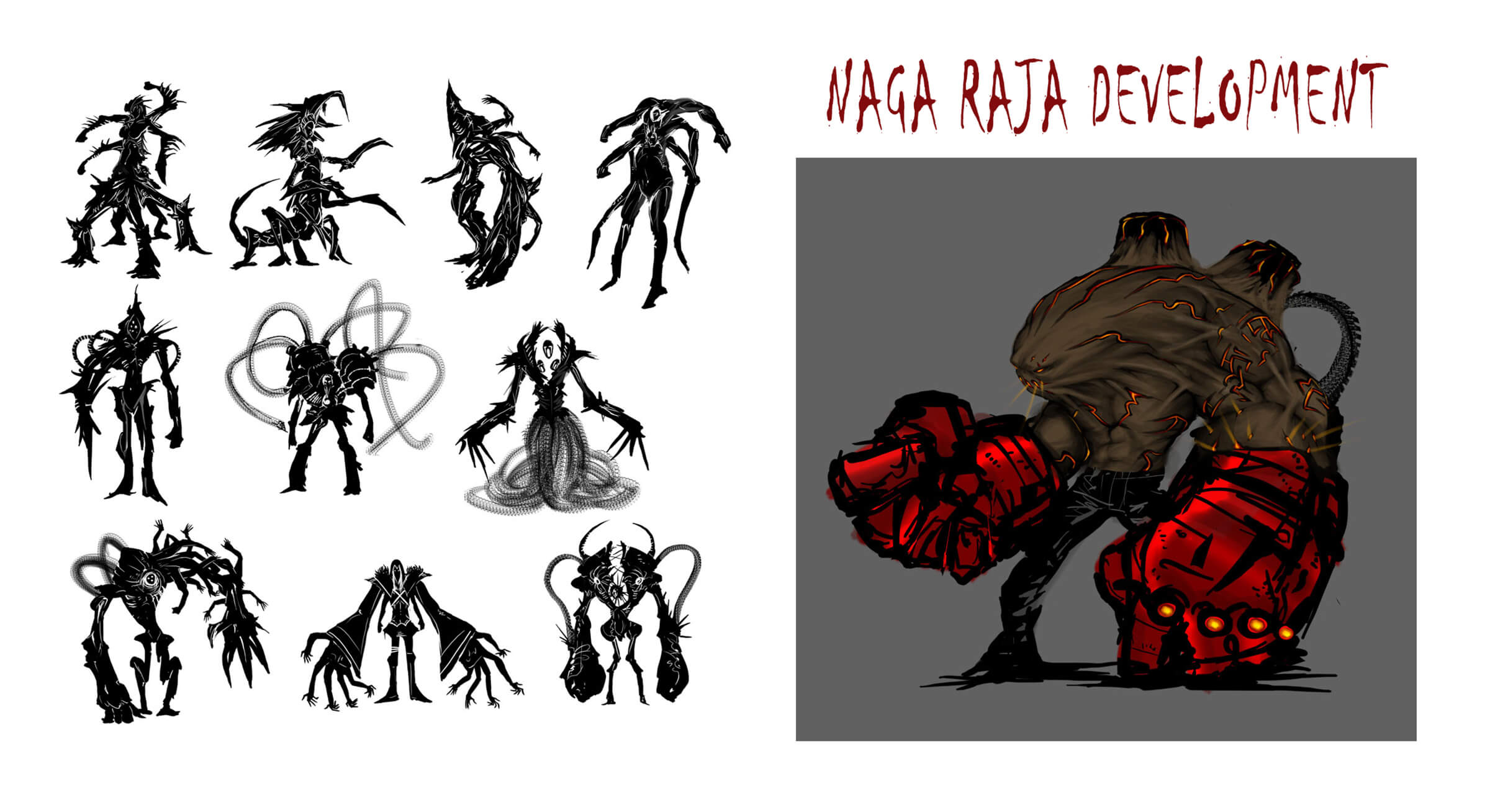 Black-and-white development sketches of an angular multi-armed/legged beast, some with cybernetic augmentations.