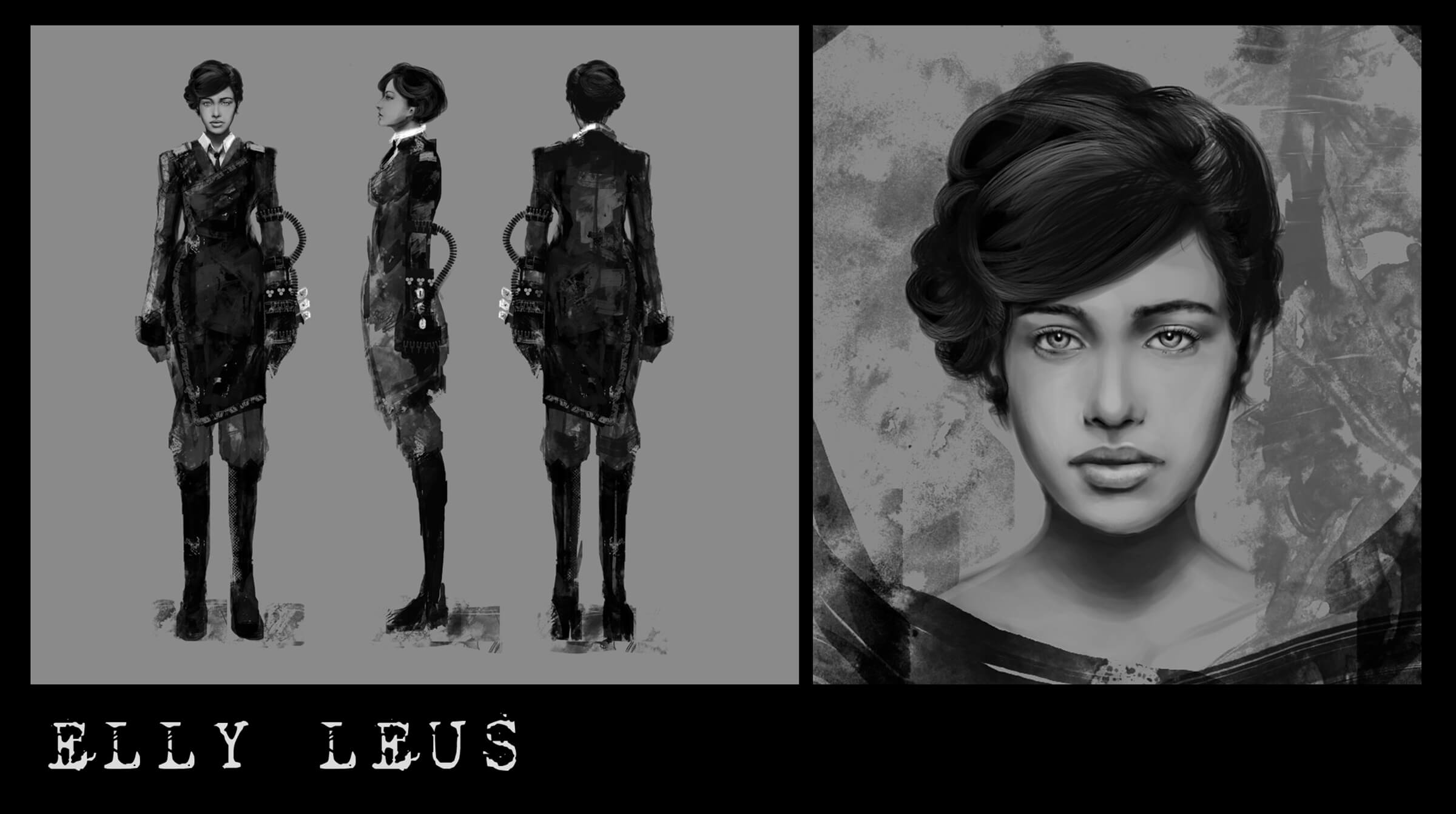 Character sketch and portrait of Elly Leus, a woman with a mid-century hairstyle and wielding a cyberpunk arm attachment.