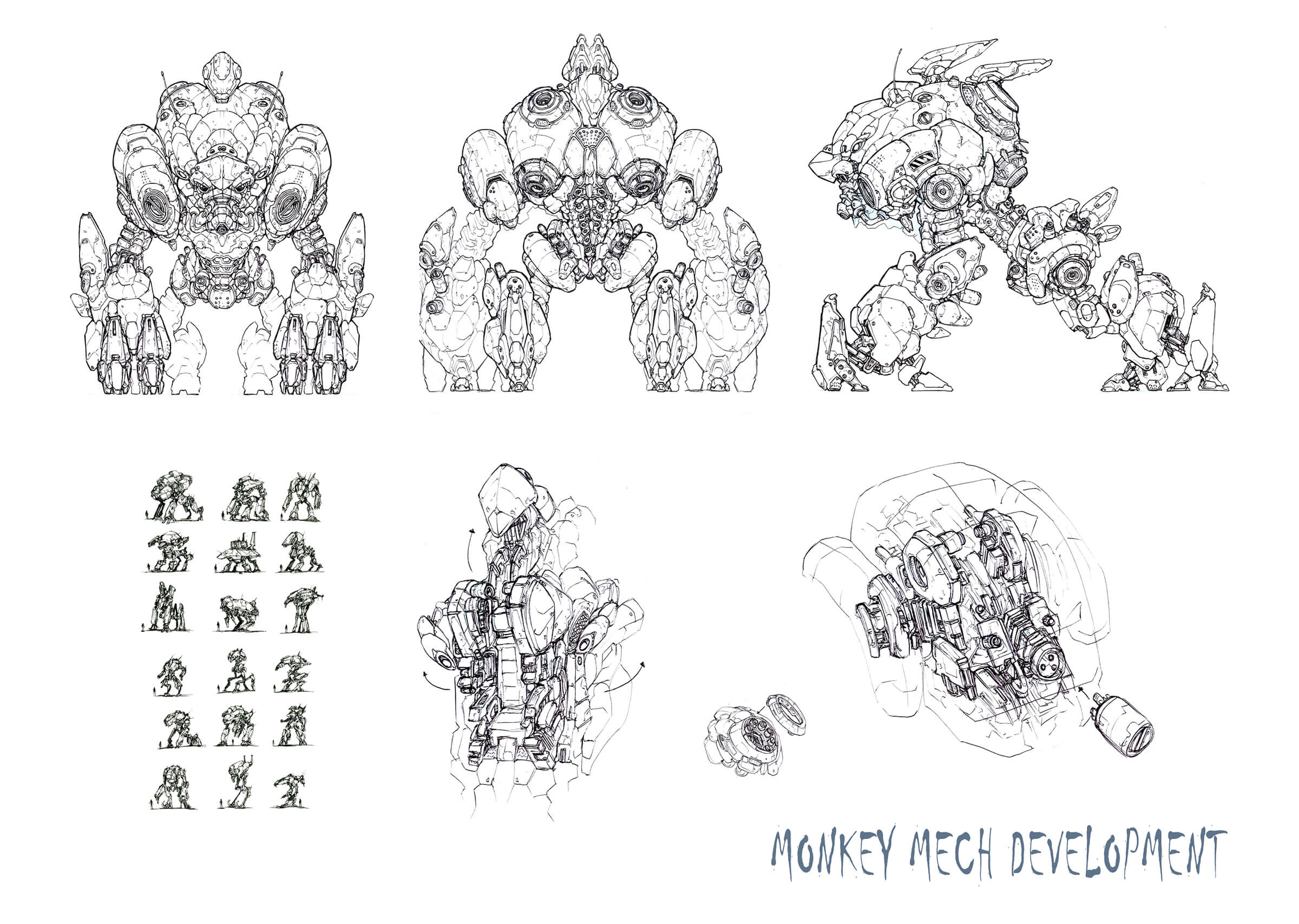 Black-and-white concept sketches and cross-sections of a hulking, quadrupedal mech machine in various resting poses.