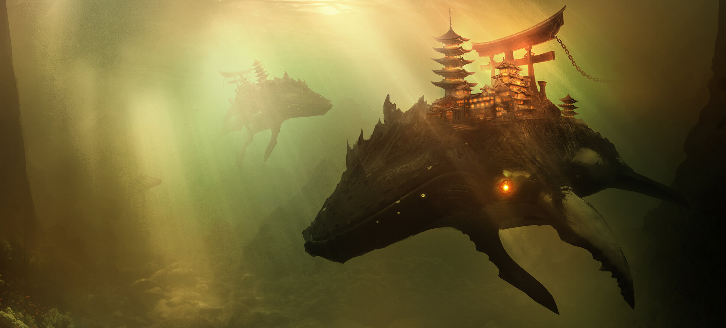 Whales swim through murky, rocky water, carrying pagoda-style castles and torii gates on their back.