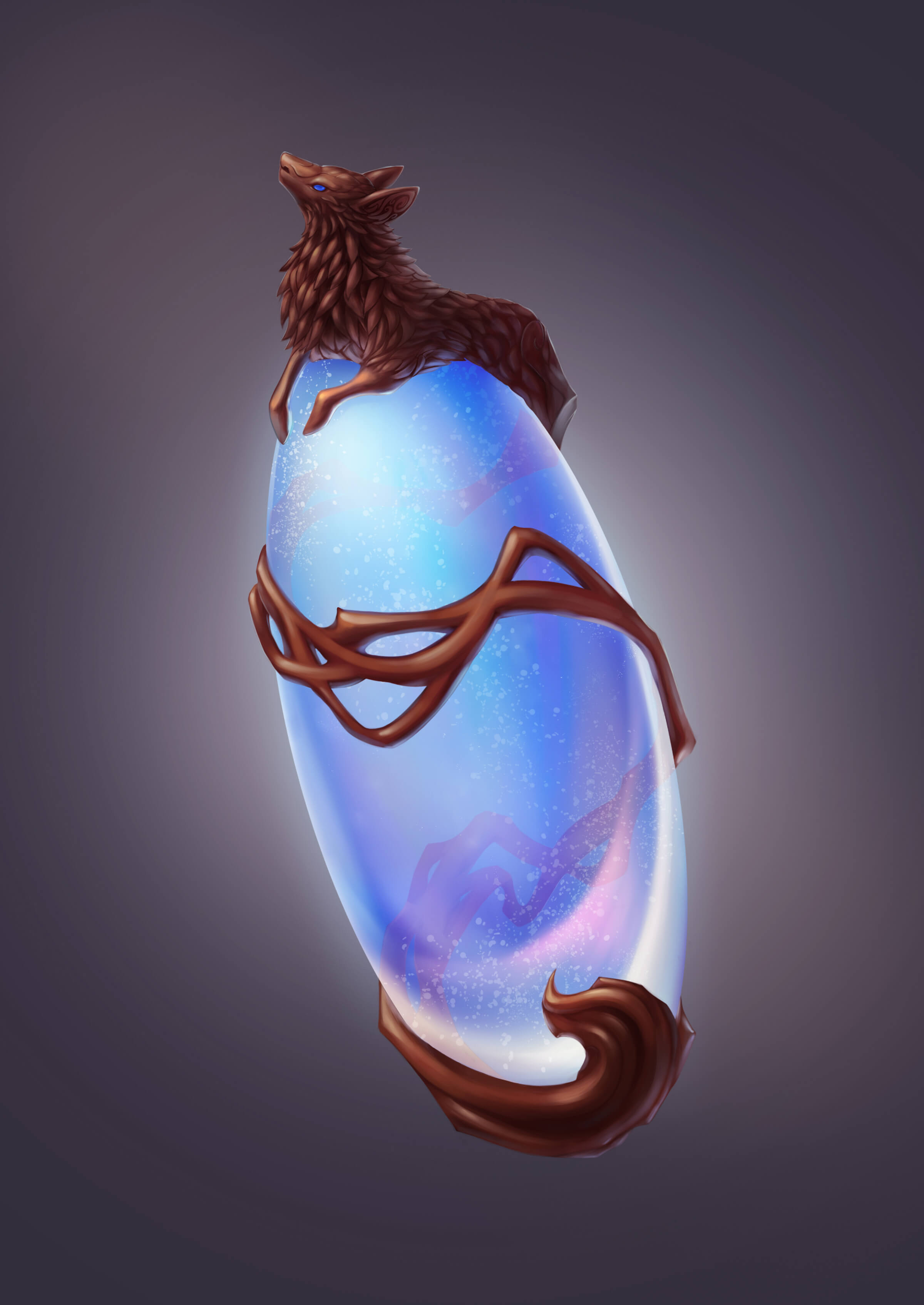 A translucent blue, egg-shaped gem enveloped by a brown lamb-like figure elongated to wrap around the gem's entirety.