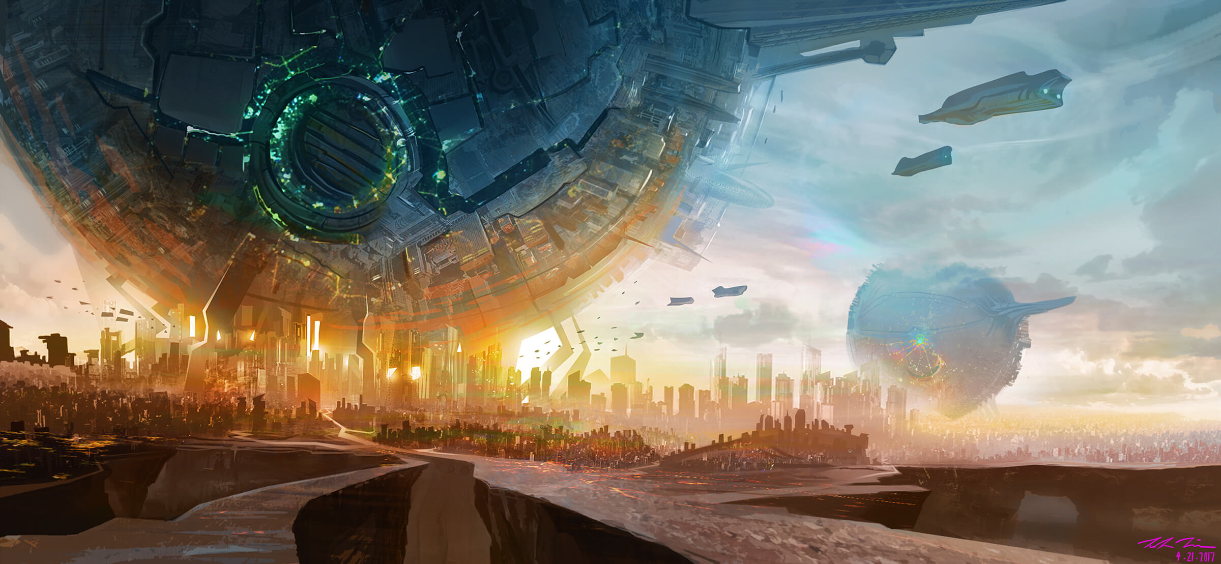 Gigantic metal sphere structures tower over futuristic cities as air/space-ships fly through the sky.