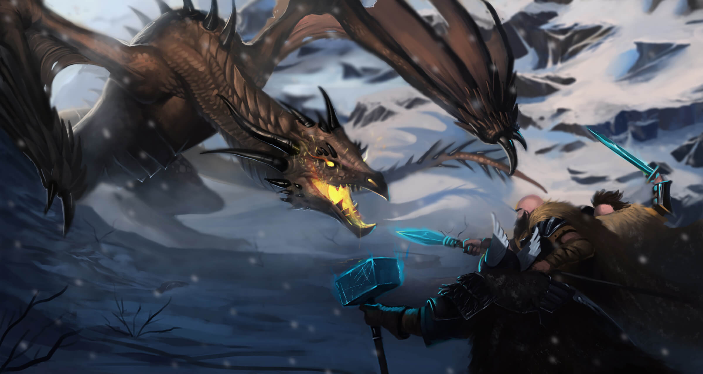 Sword-, spear-, and hammer-wielding warriors confront a large, brown dragon in a snowy environment.