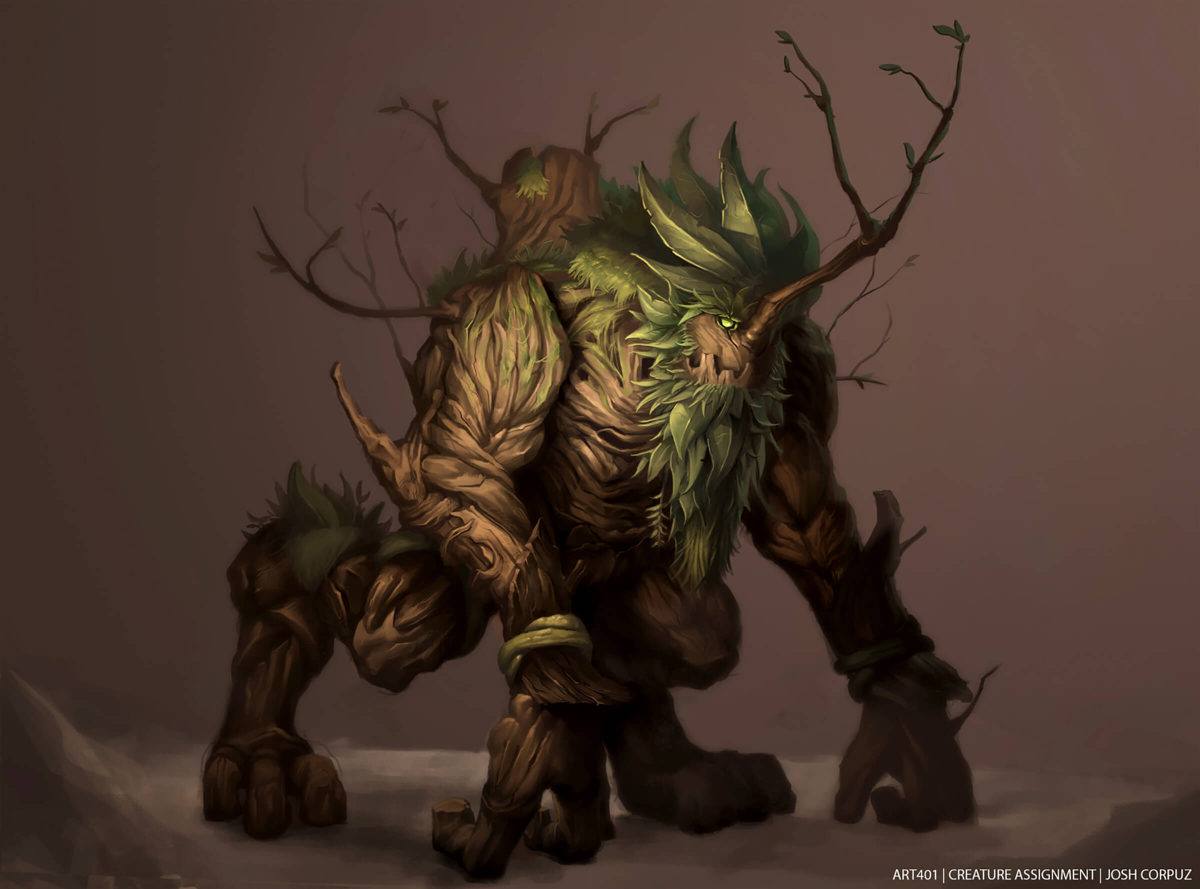 A quadrupedal beast made of wood, with a mane of leaves and grass, and a branch jutting out of its face like a horn.