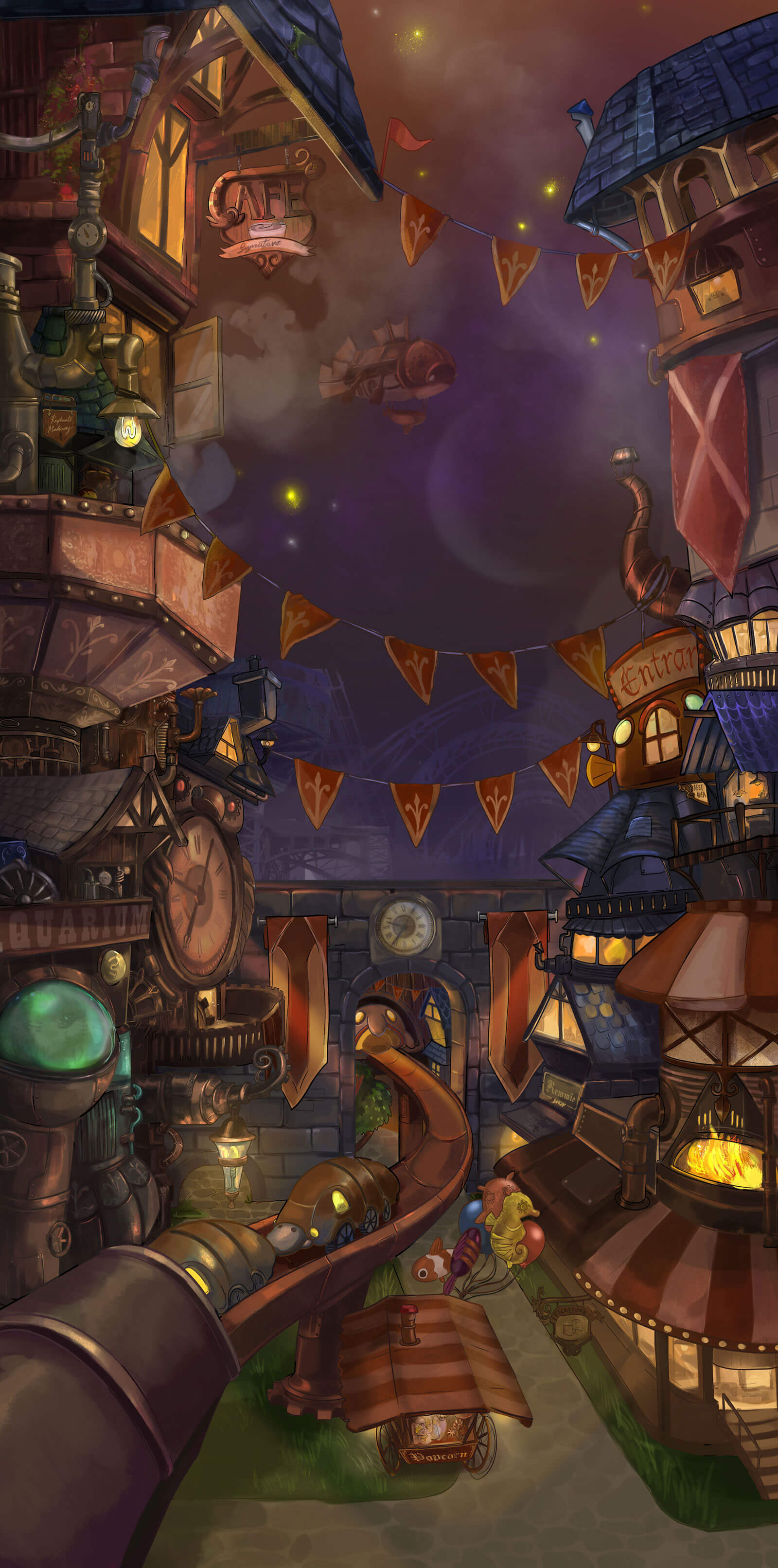 A lively, steampunk-style city scene at night.
