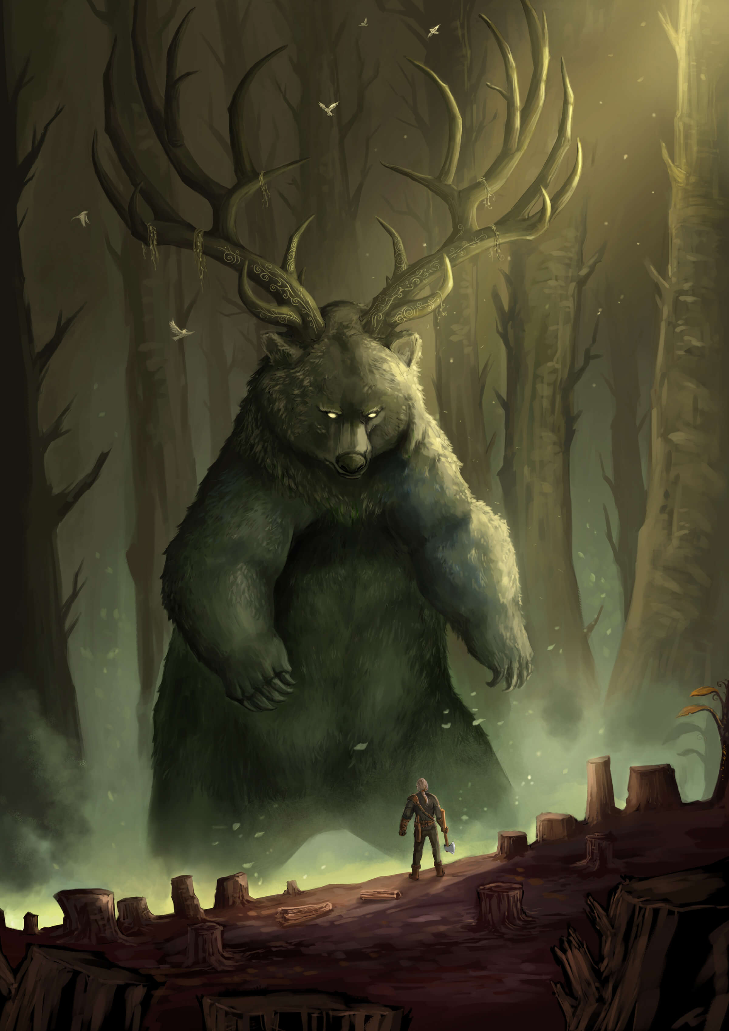 A man with an ax surrounded by tree stumps stands before an enormous upright bear with massive antlers in a dimly lit glade.