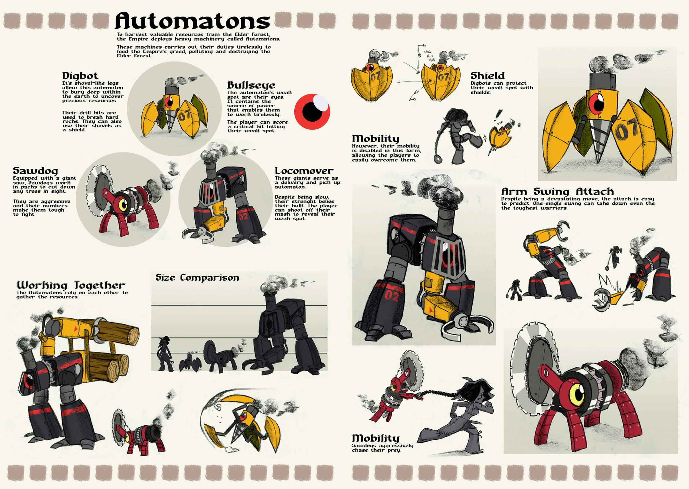 Sketches and details of three robots, resembling a drill, buzz saw, and train in various attack poses.