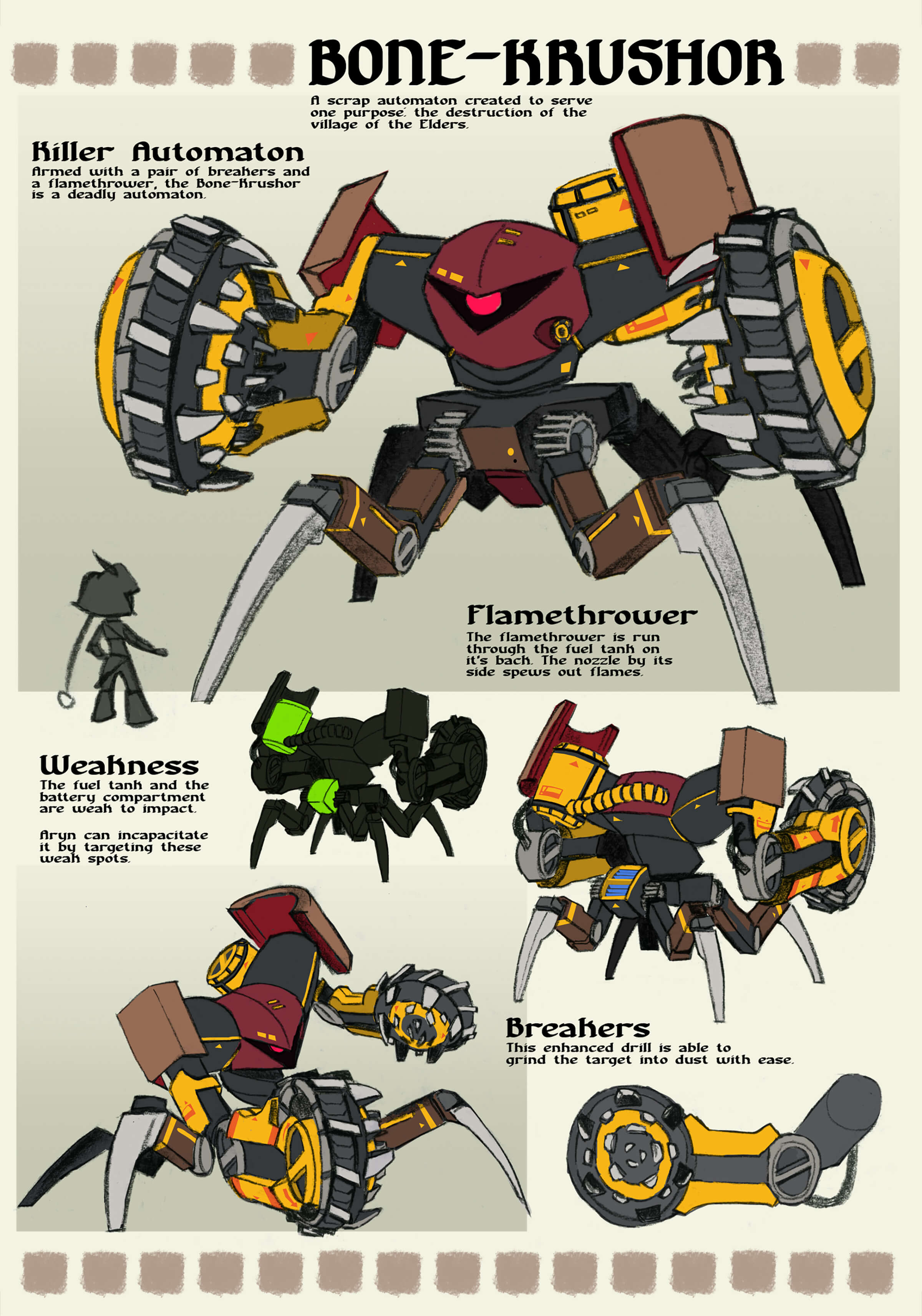 Concept art and details of a large quadrupedal robot with a single red eye and grinding wheel-like fists.