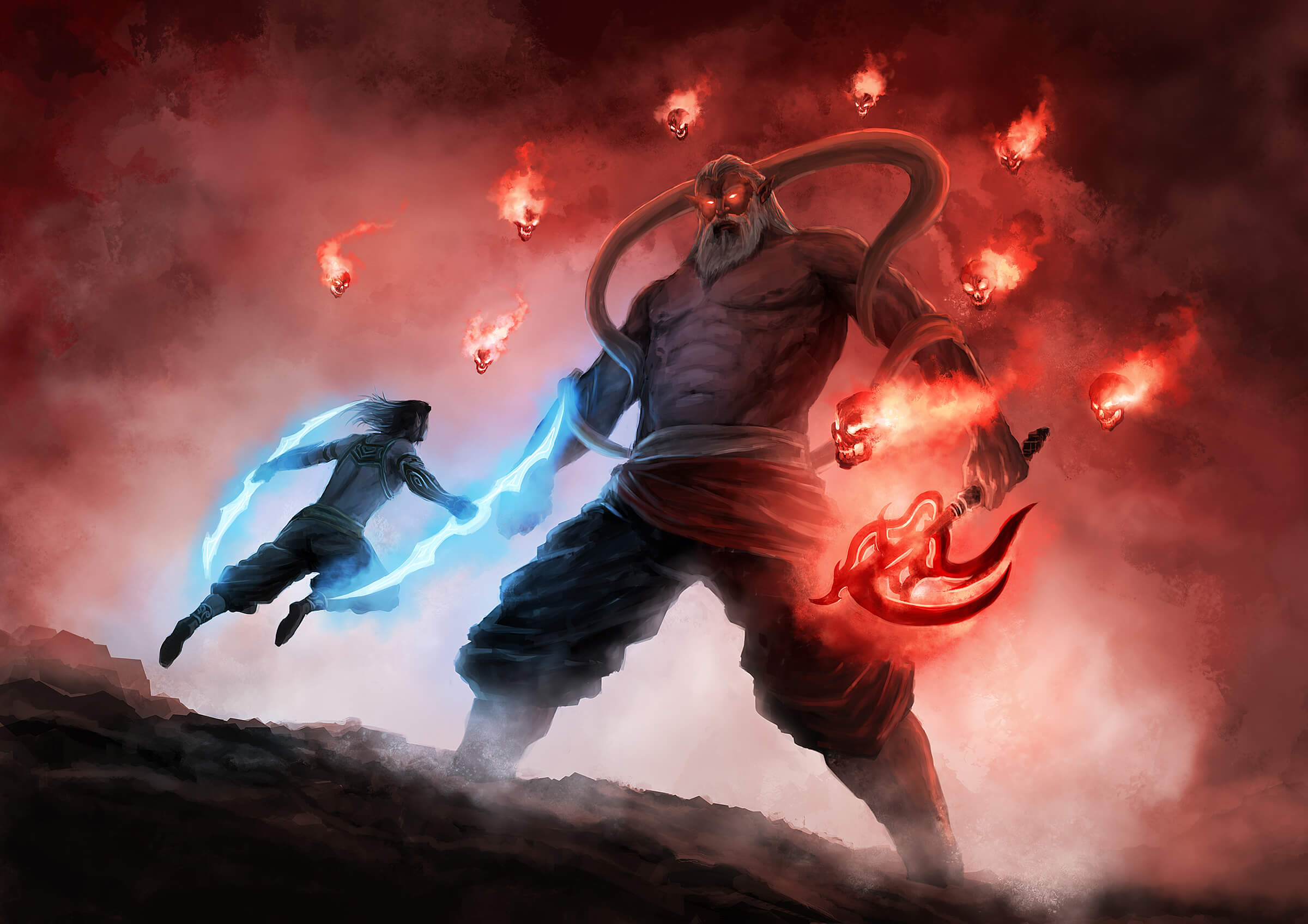 A man wielding glowing, double-sided blades leaps at an enormous, horned demon surrounded by flaming red skulls.