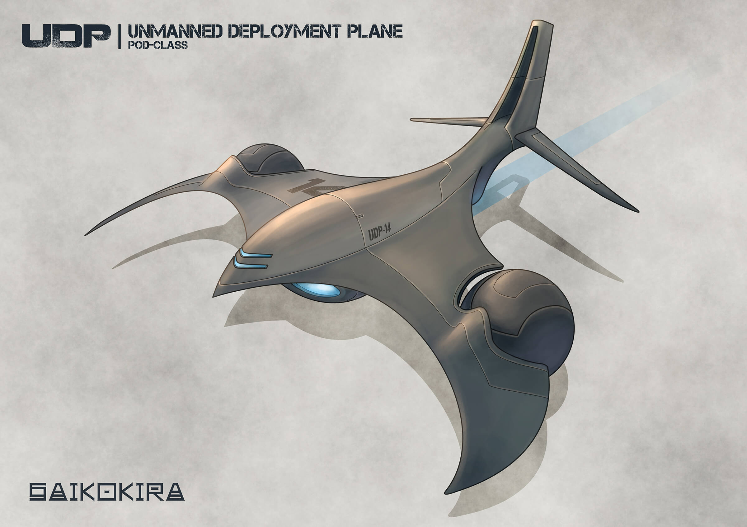 Sketch of a futuristic gray-metal, jet-powered flying vehicle, including spherical pods attached to its swept wings.