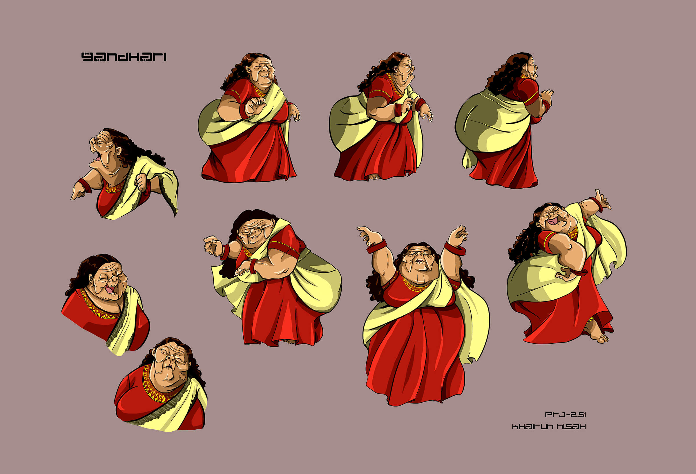 Character sketches of an old, wrinkled woman in a yellow and red sari-type dress as she dances and delivers various reactions.