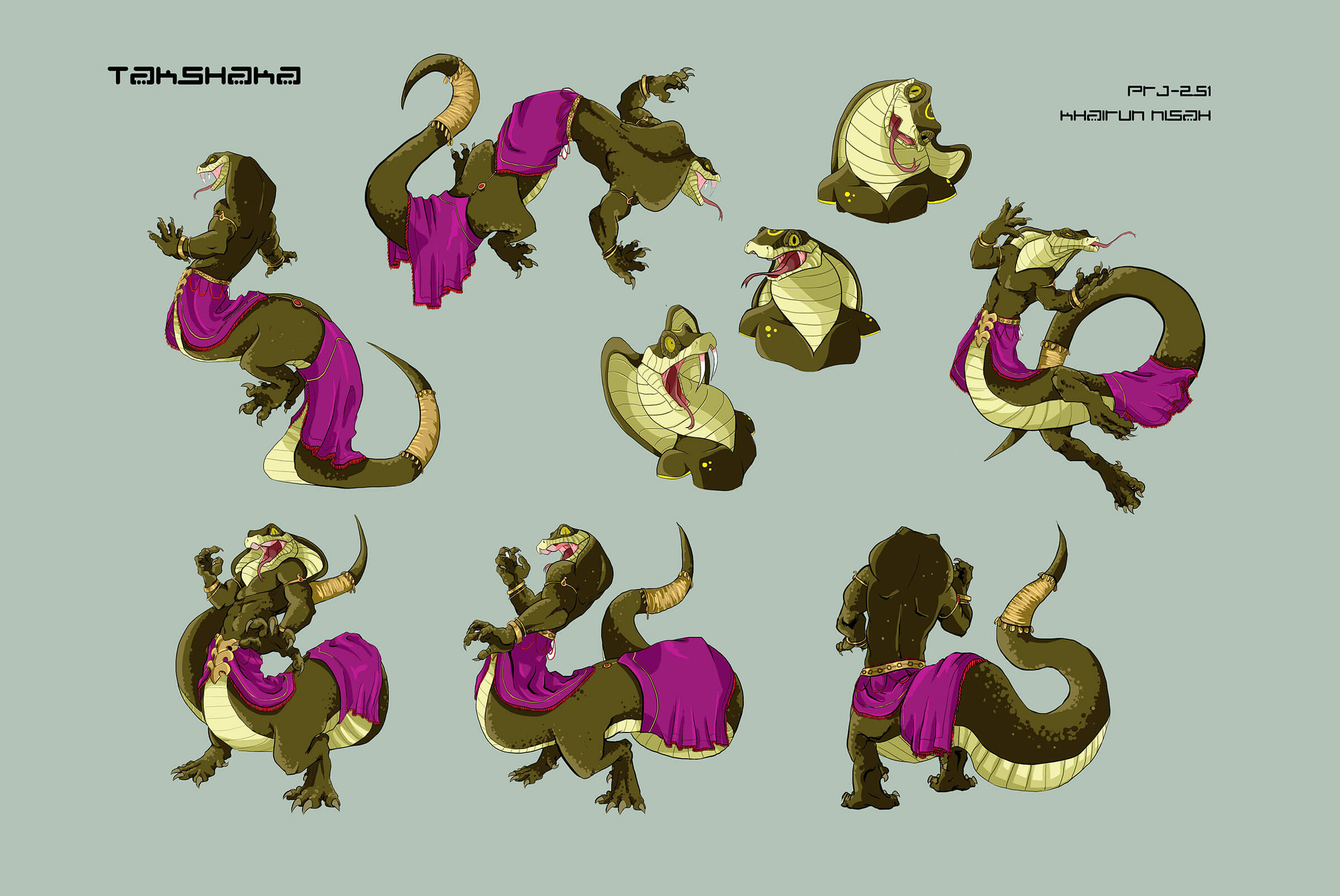 Character sketches of a green naga-like creature in a purple skirt as it dances and delivers various reactions.