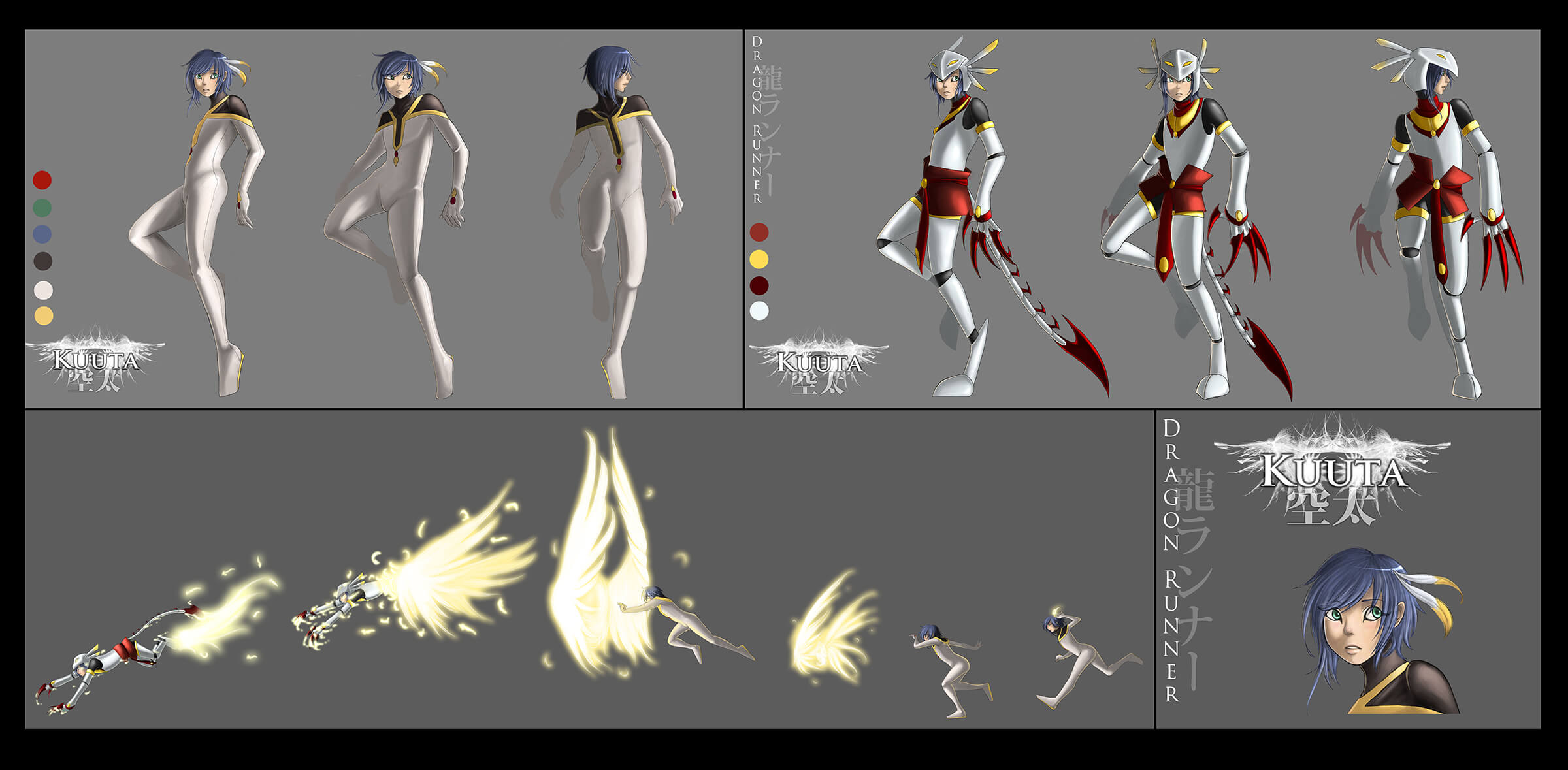 Character and movement sketches of a woman in a white-black-and-red skinsuit as she transforms into a cat-like hero.