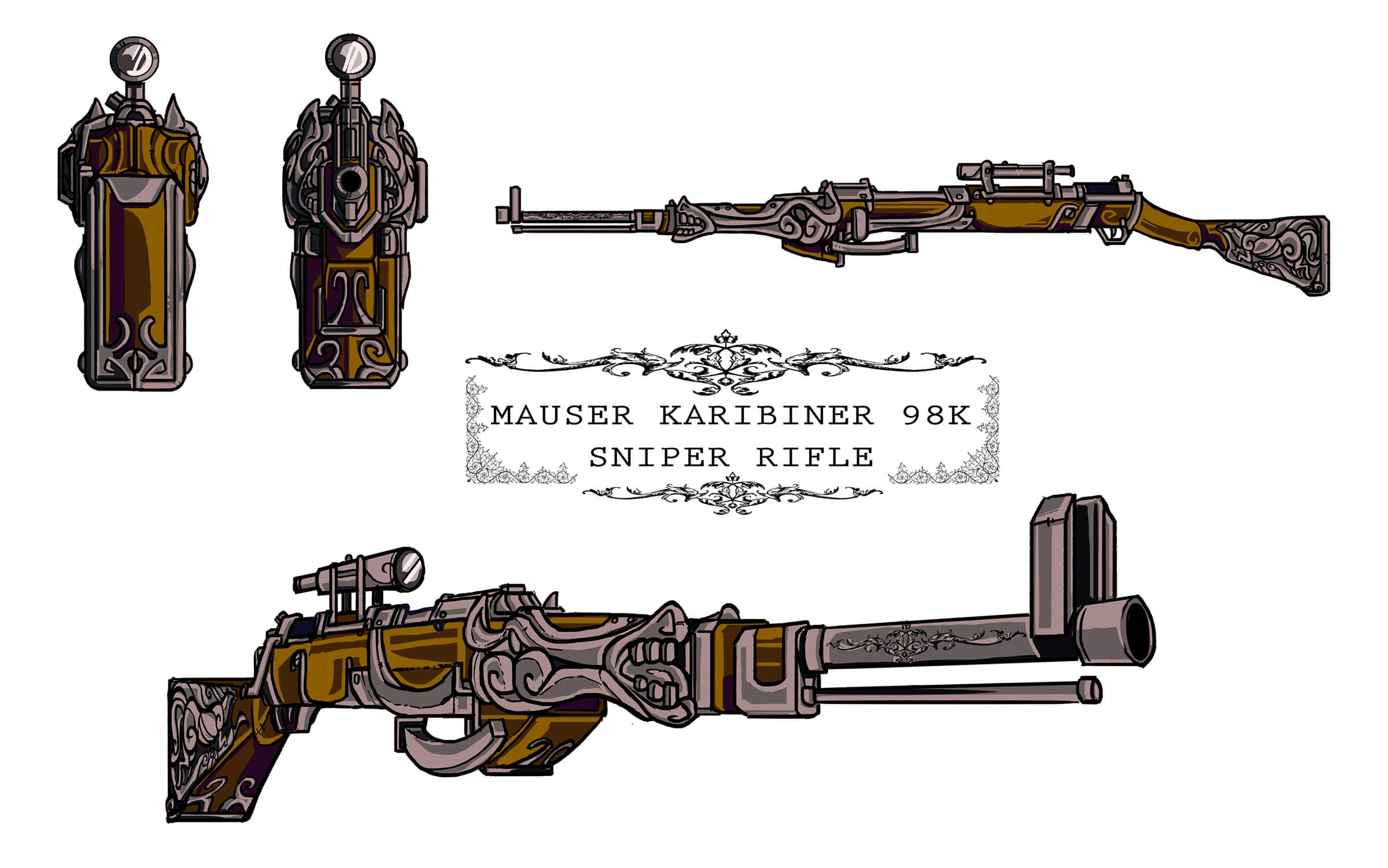 Ornate Mauser sniper rifle decorated with intricate metal flourishes, seen from several angles.
